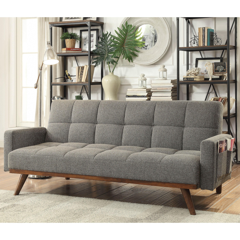 Alto Mid-century Modern Dark Grey Tufted Futon Sofa by FOA