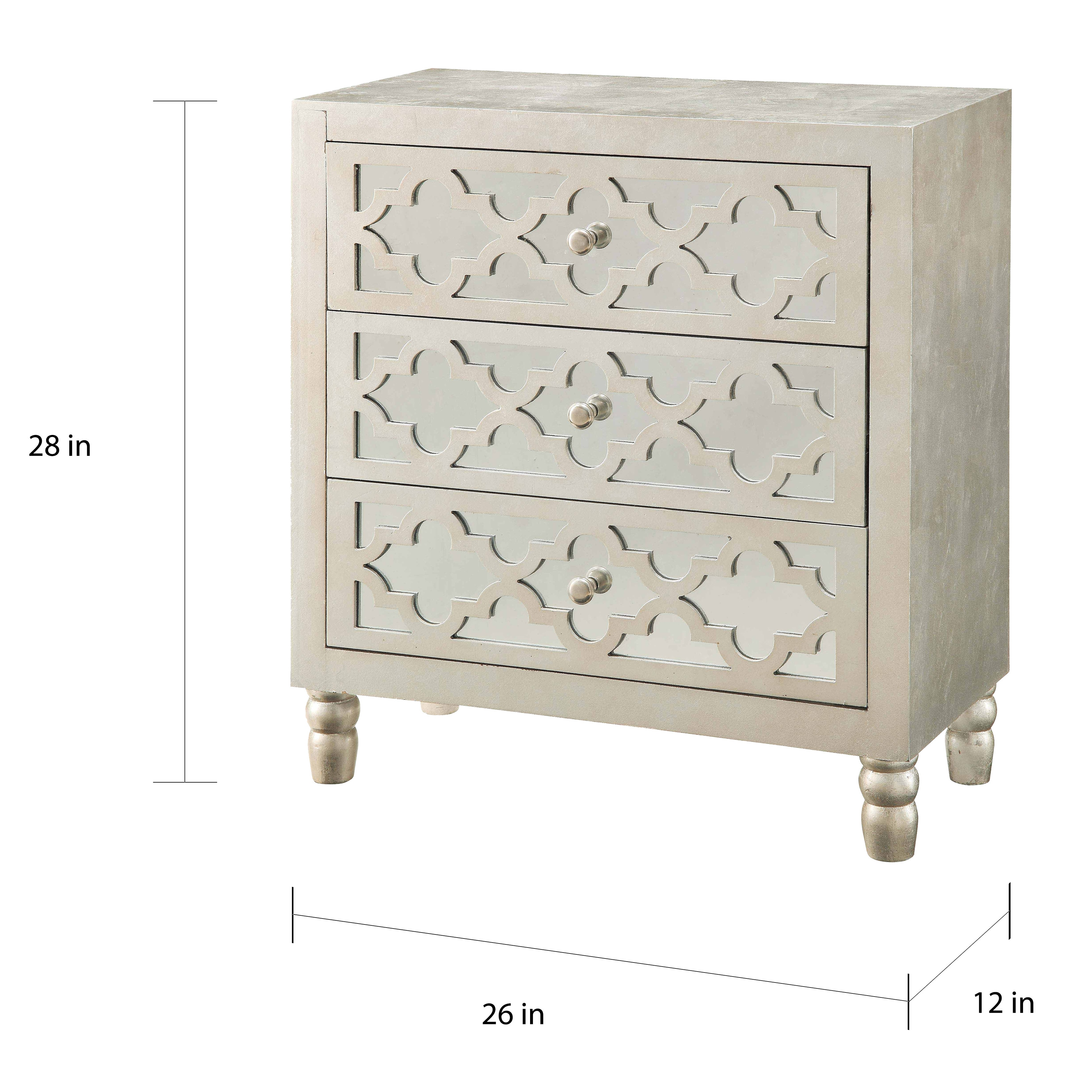 Newcastle Silver Leaf 3 Drawer Chest Free Shipping Today 20822351