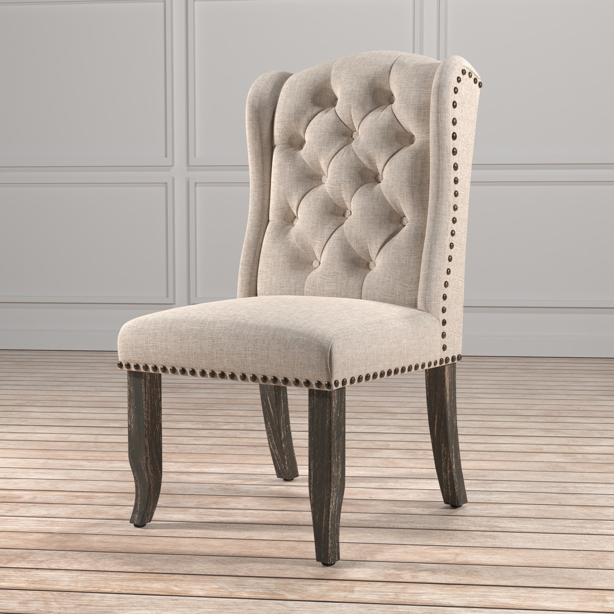 Furniture Of America Telara Tufted Wingback Dining Chair (Set Of