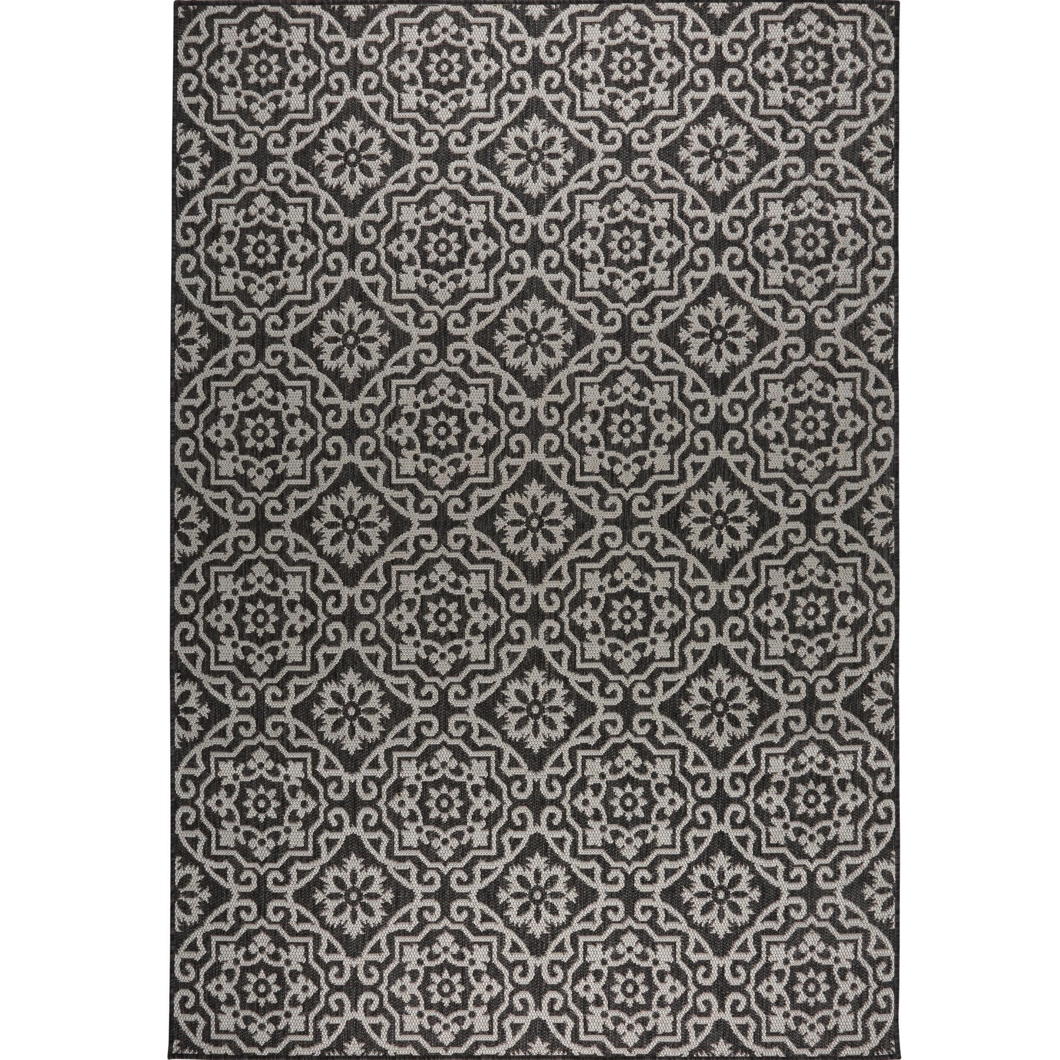 Shop Patio Country Black Gray Tiled IndoorOutdoor Rug
