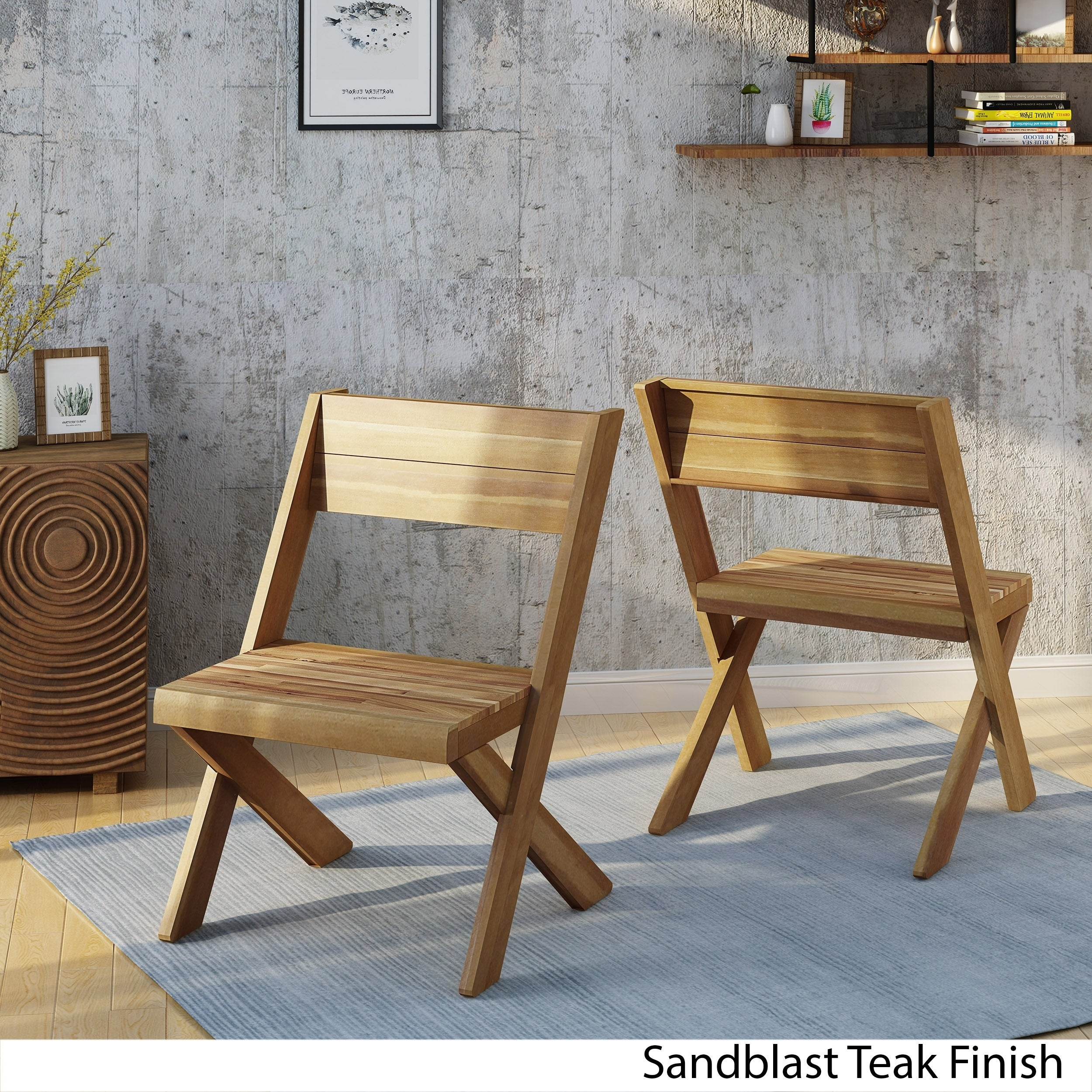 Shop esmeralda farmhouse acacia wood accent chair set of 2 by christopher knight home on sale free shipping today overstock com 20833100
