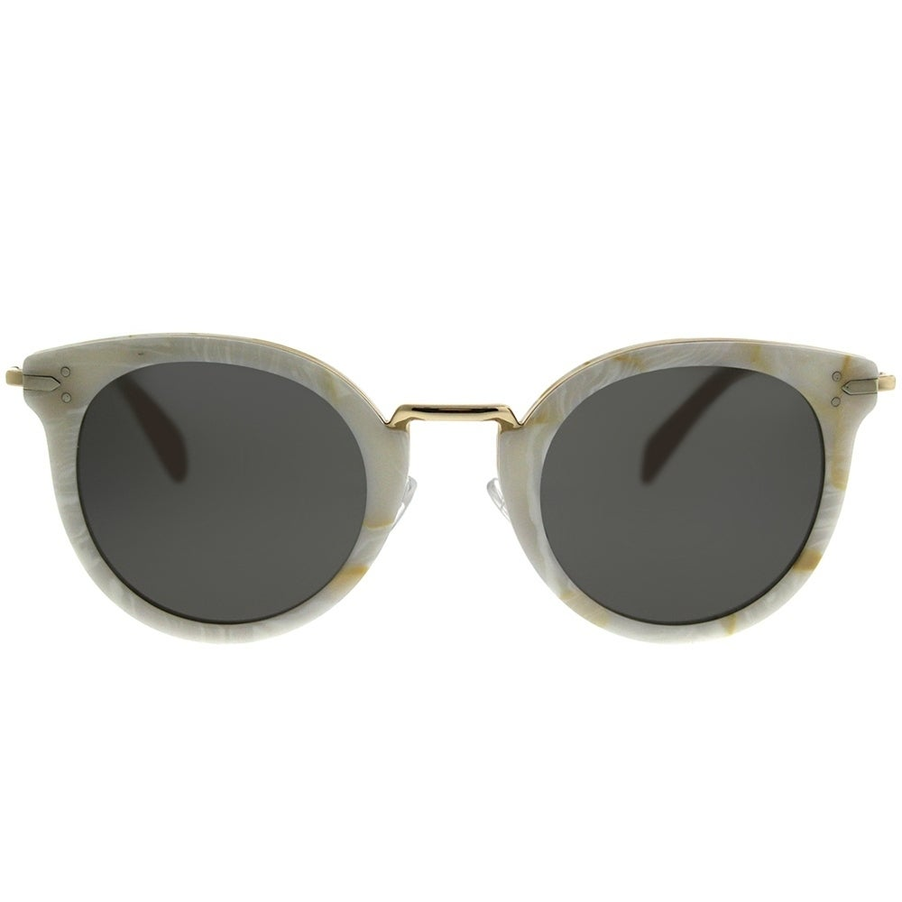 d38c7ed619 Shop Celine Round CL 41373 Lea 23F NR Women White Gold Frame Grey Lens  Sunglasses - Free Shipping Today - Overstock - 20836060