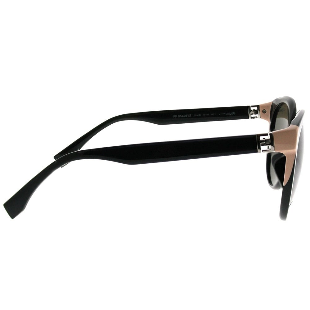 fdfd58f5f0a Shop Fendi Round FF 0144 F The Fendista 29A Women Shiny Black Frame Grey  Gradient Lens Sunglasses - On Sale - Ships To Canada - Overstock.ca -  20836078