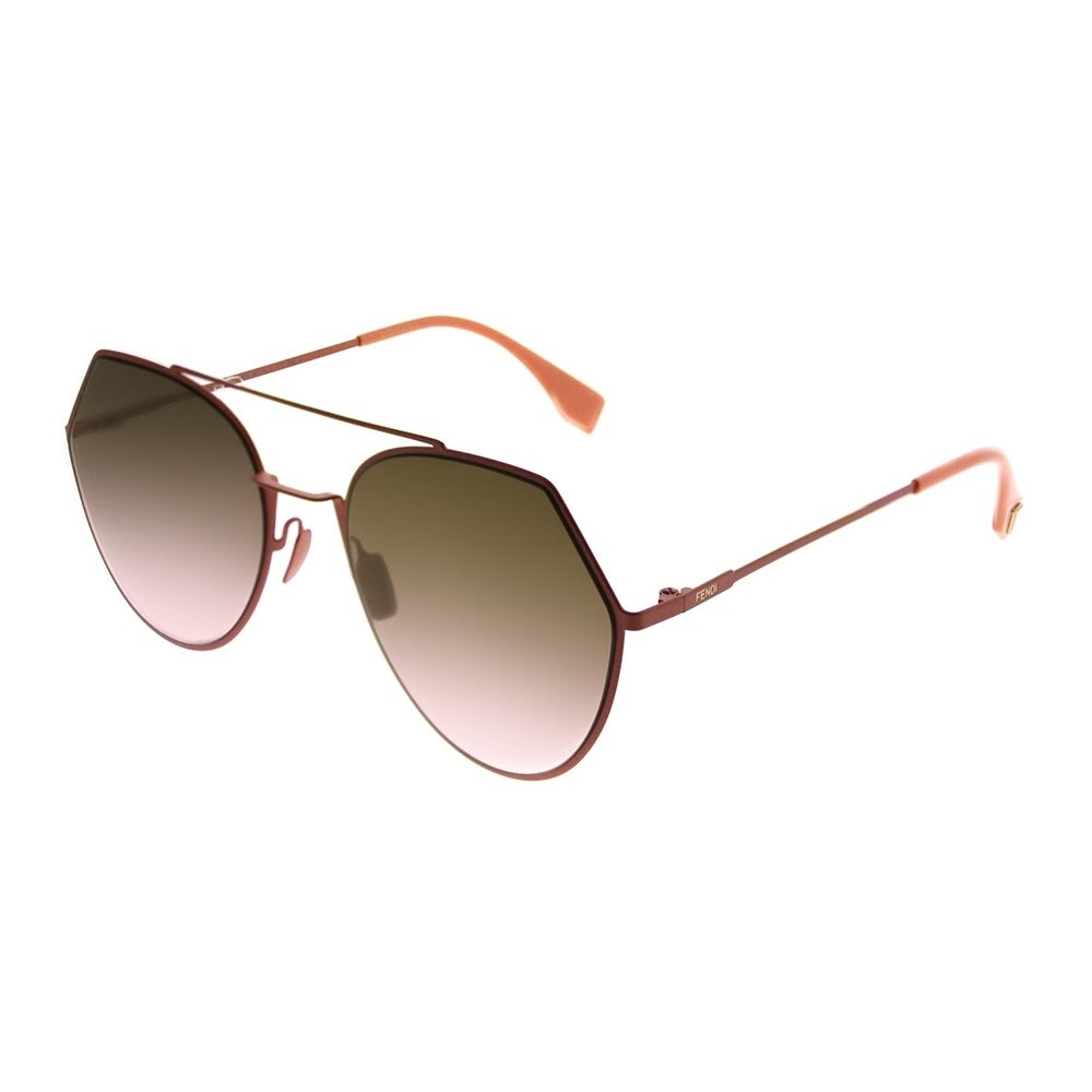94495f2c5575 Shop fendi aviator eyeline unisex peach frame brown gradient lens sunglasses  free shipping today jpg 1000x1000