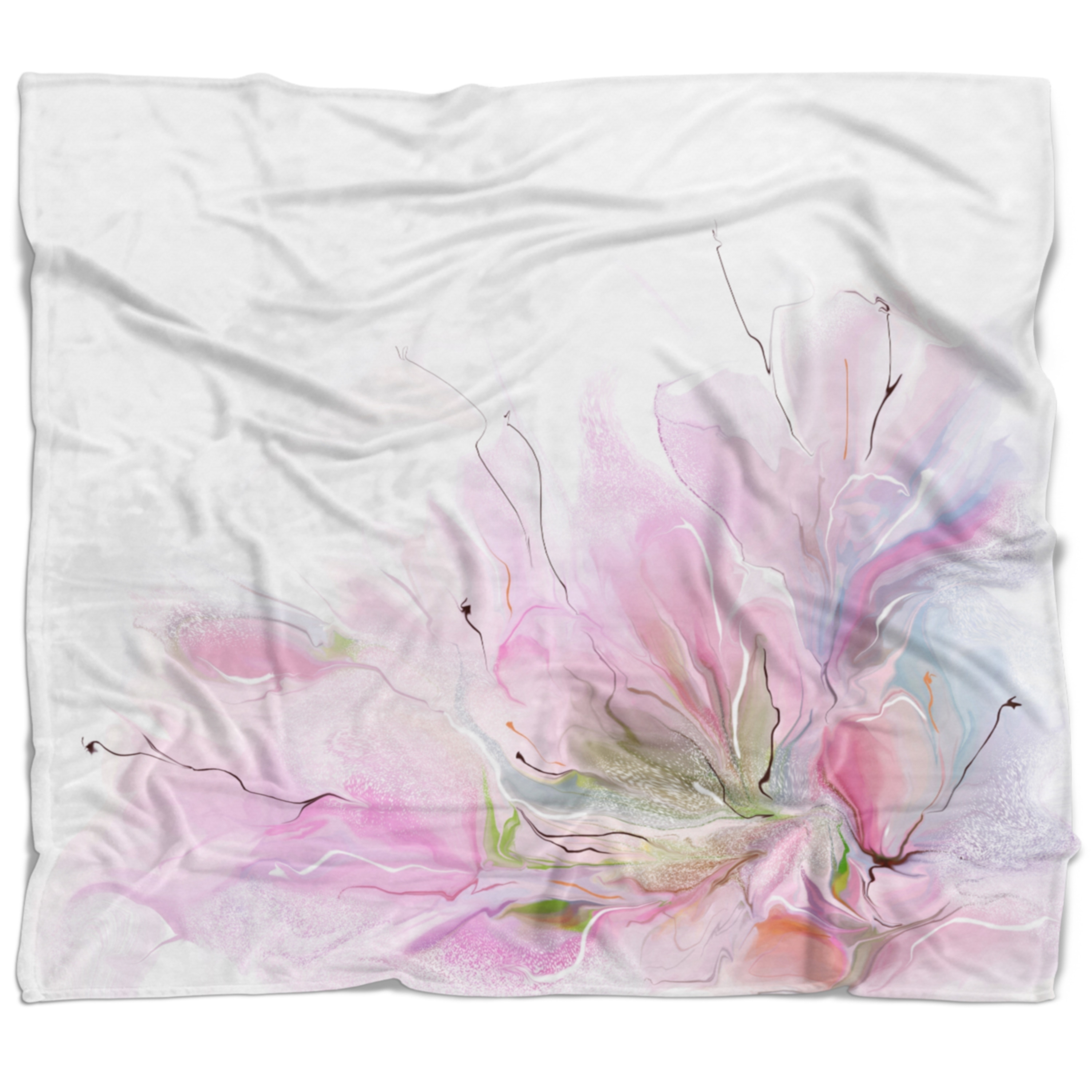 Designart Lovely Pink Flowers Abstract Floral Throw Blanket Free