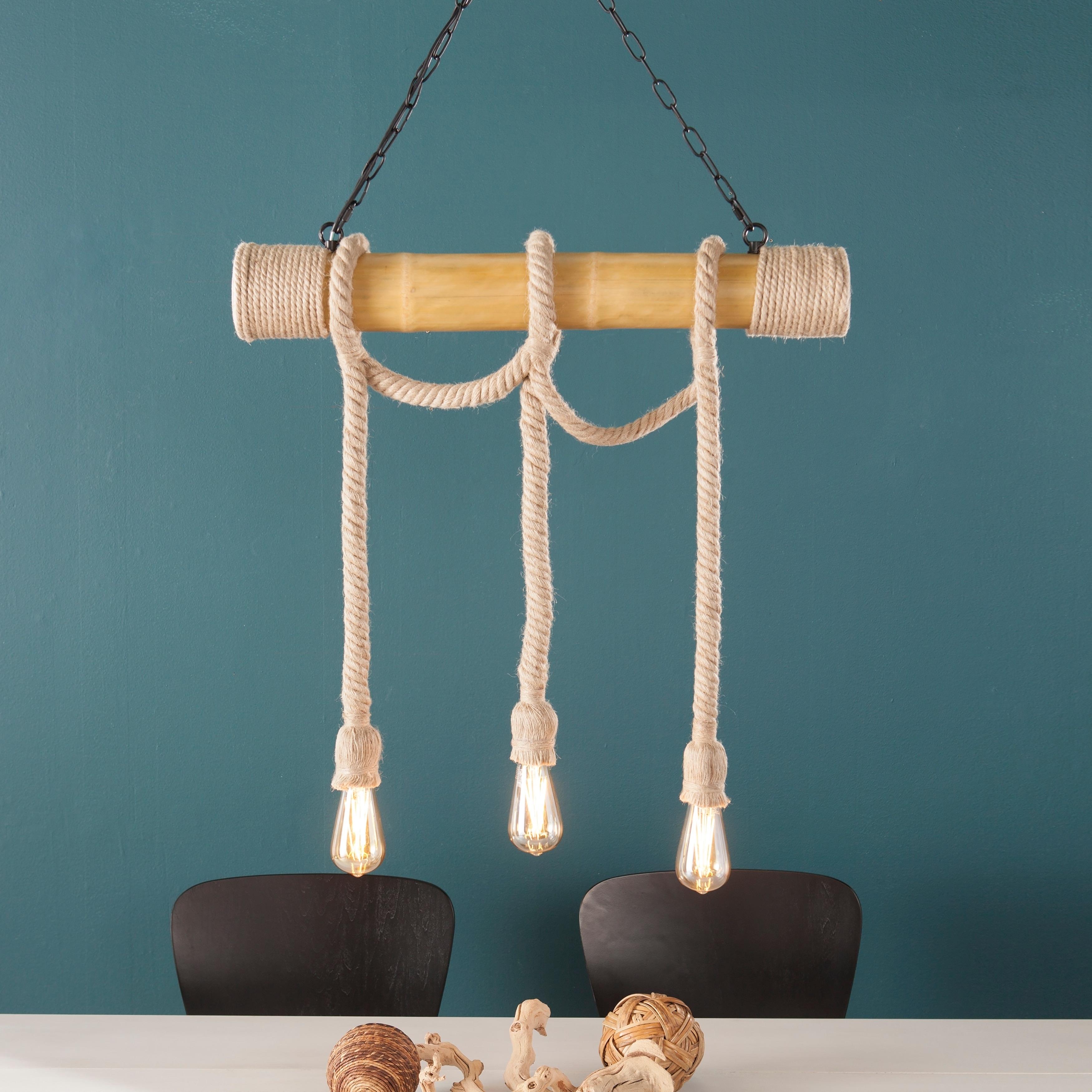 Shop Harper Blvd Gilbert Natural 3-Rope Island Pendant Lamp - Free ...