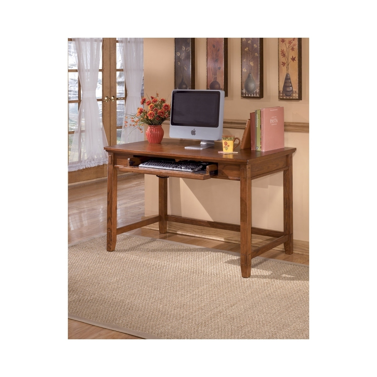 Signature Design By Ashley Cross Island Medium Brown Home Office Small Leg  Desk   Free Shipping Today   Overstock   26658251