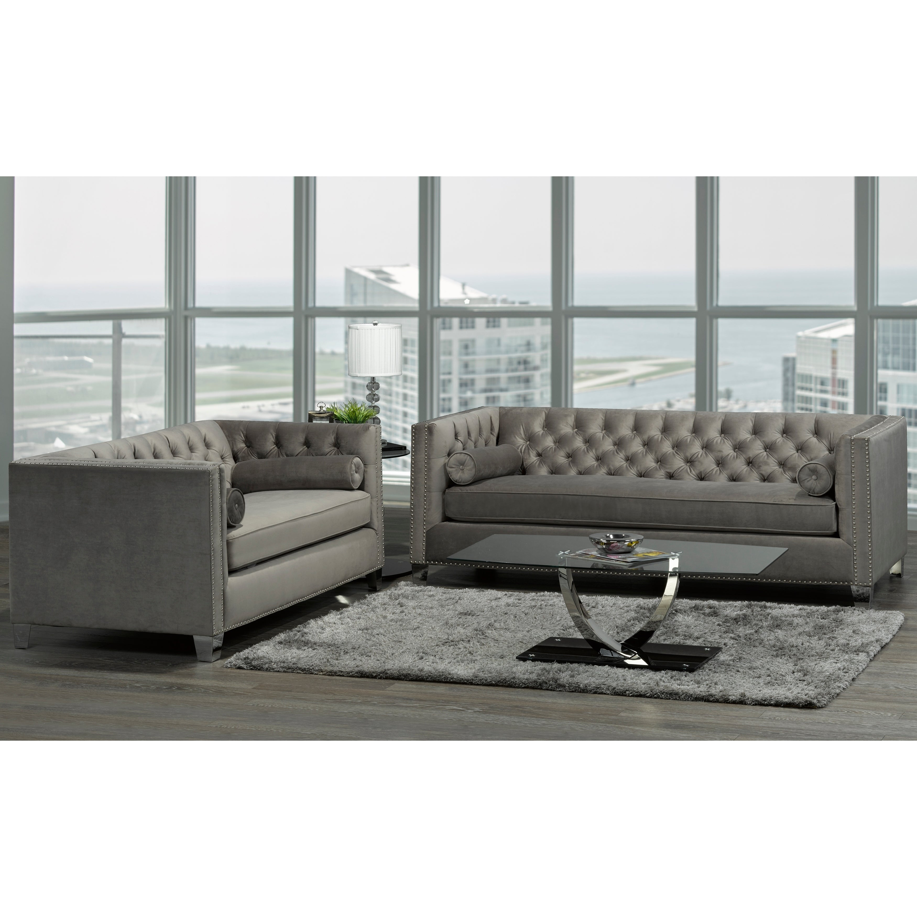 Hank Modern Grey Velvet Tufted Nailhead Sofa And Loveseat On Free Shipping Today 20847530