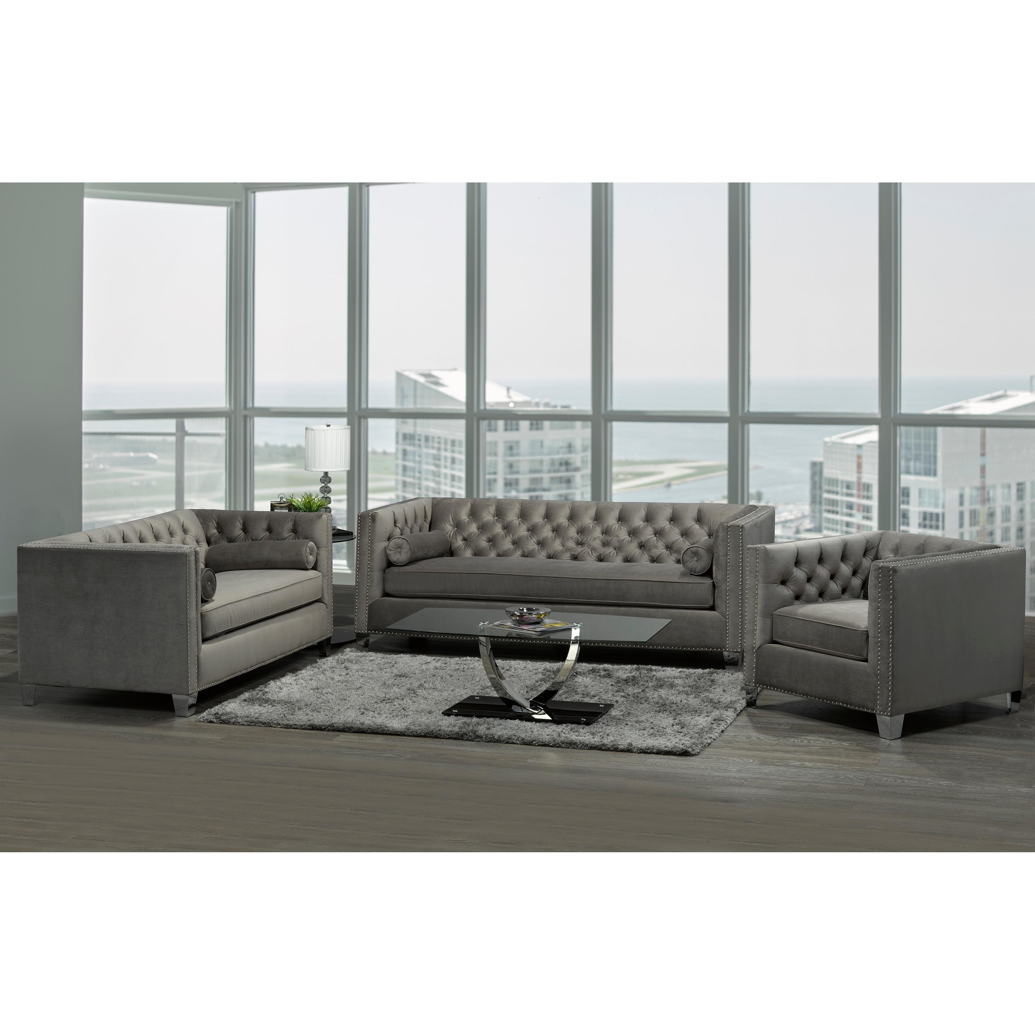 Hank Modern Grey Velvet Tufted Nailhead Sofa, Loveseat and Chair - Natural