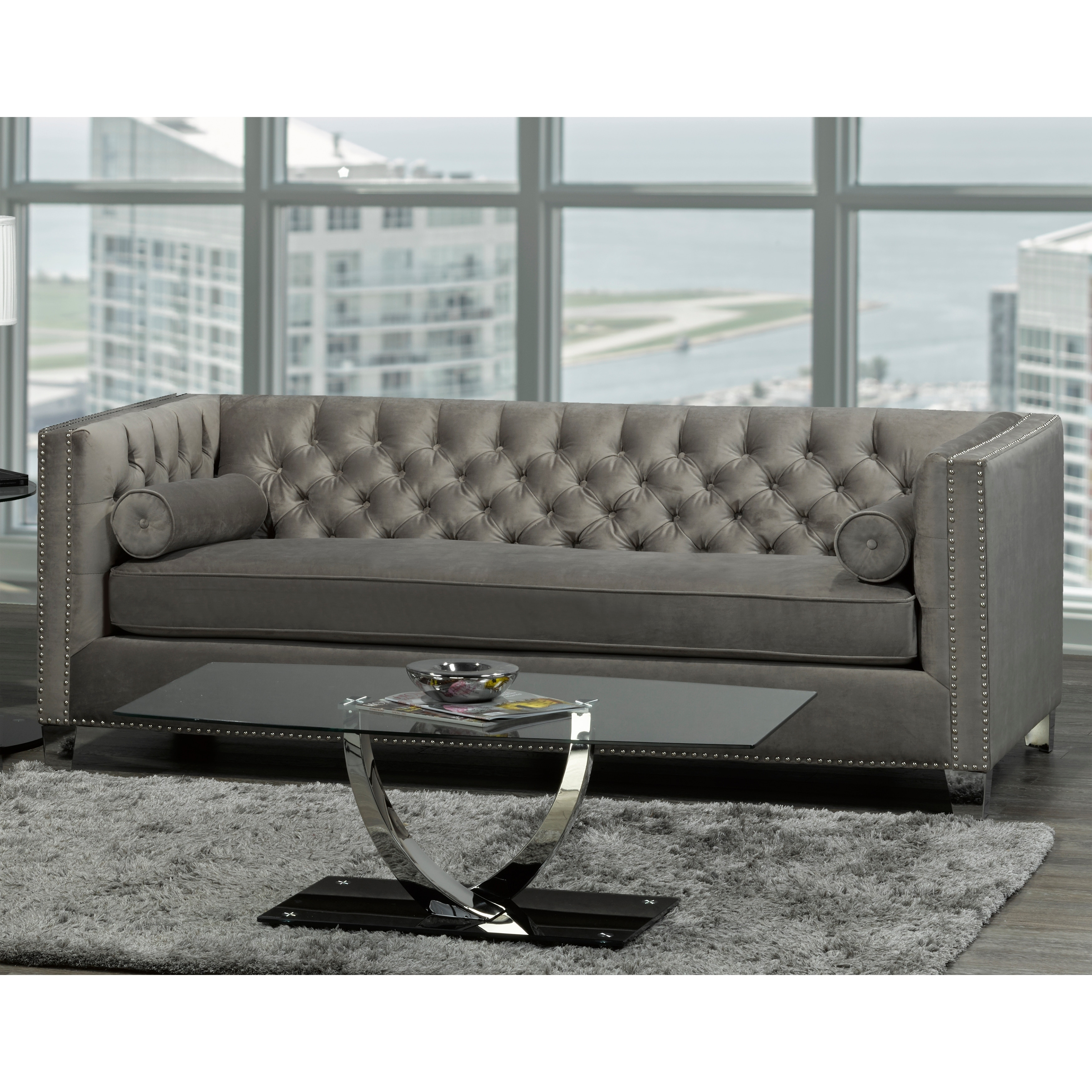 Hank Modern Grey Velvet Tufted Nailhead Sofa Loveseat And Chair On Free Shipping Today 20847535