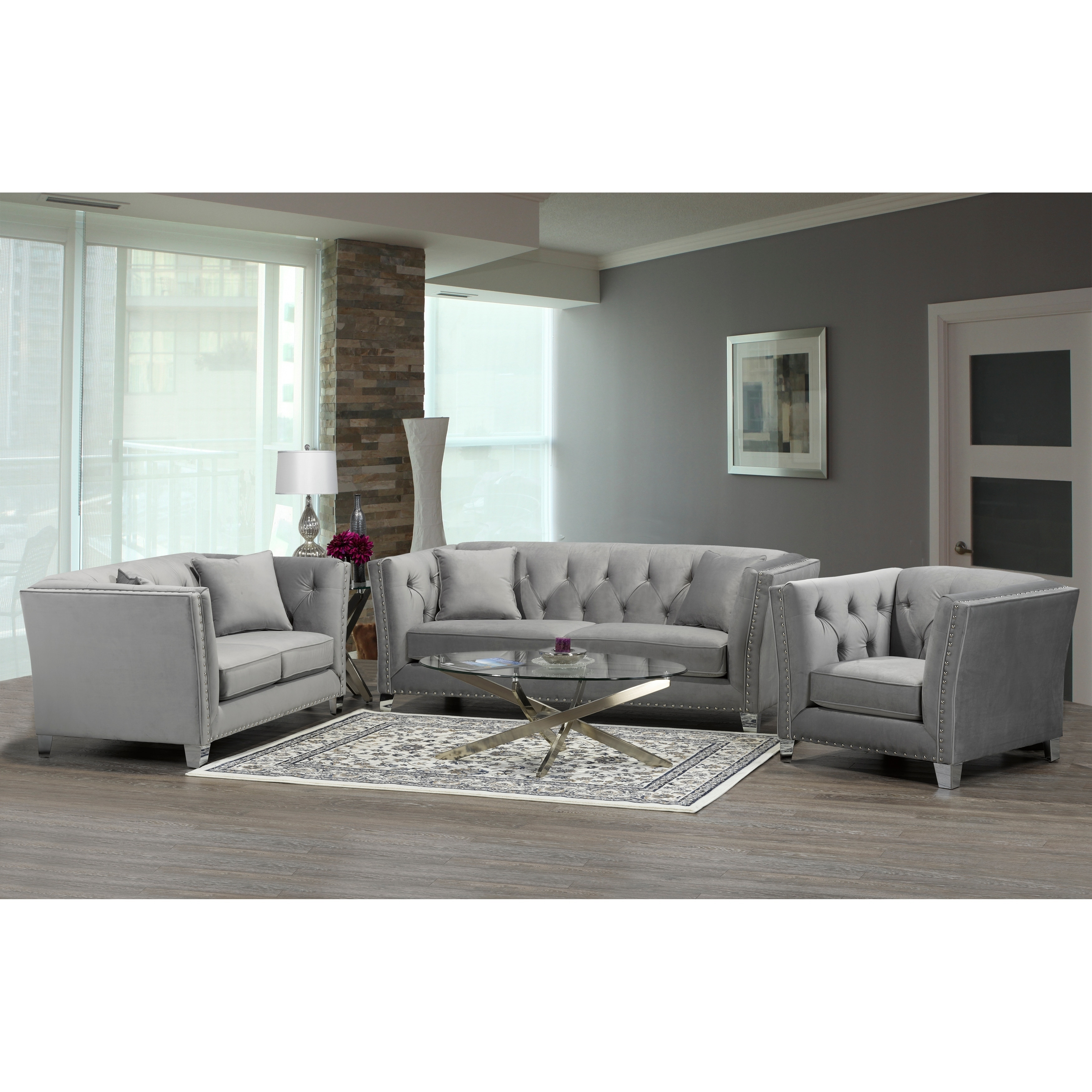 Fiona Modern Grey Velvet Tufted Nailhead Sofa Loveseat And Chair On Free Shipping Today 20847536