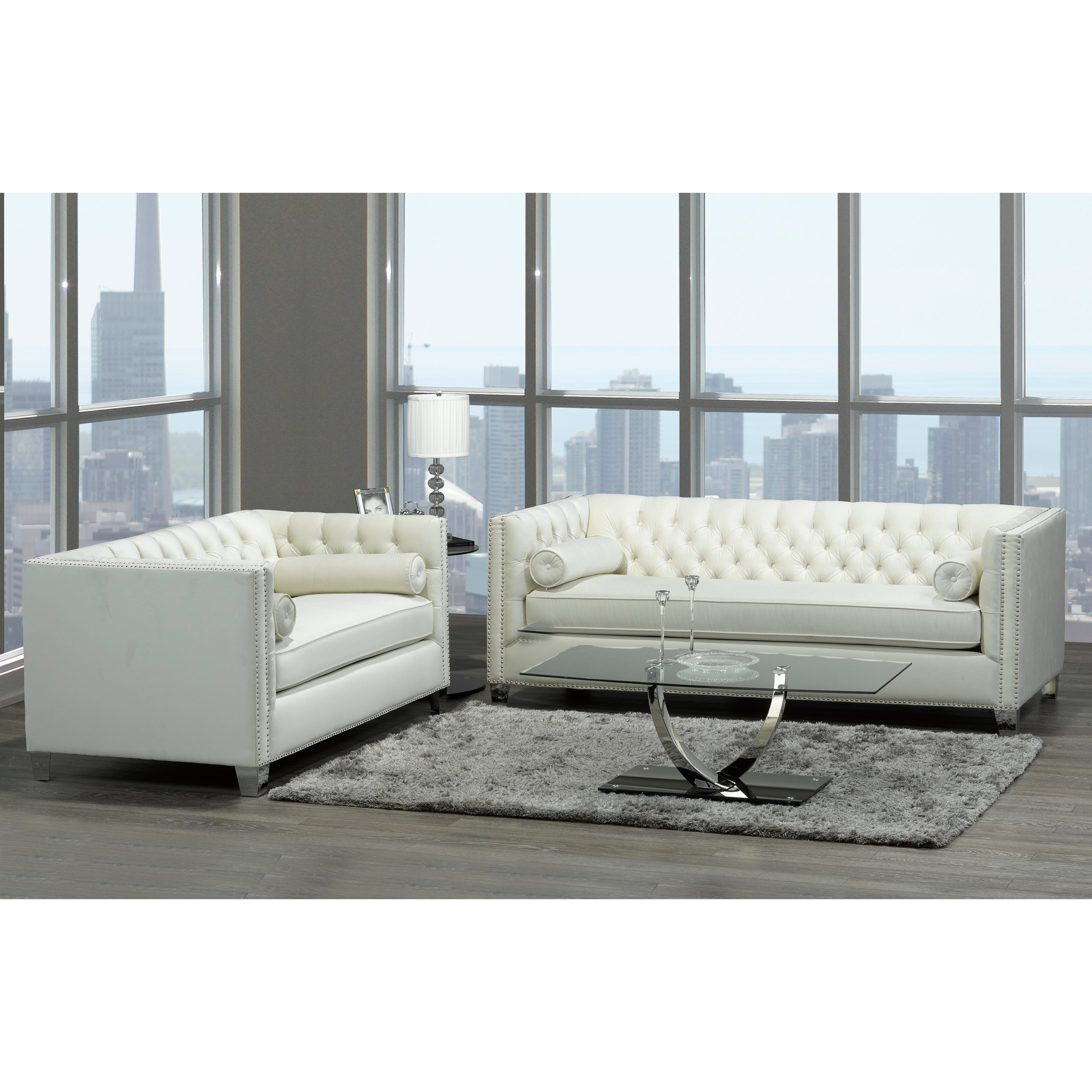 Shop Oz Modern Ivory Velvet Tufted Nailhead Sofa And Loveseat   On Sale    Free Shipping Today   Overstock.com   20847540