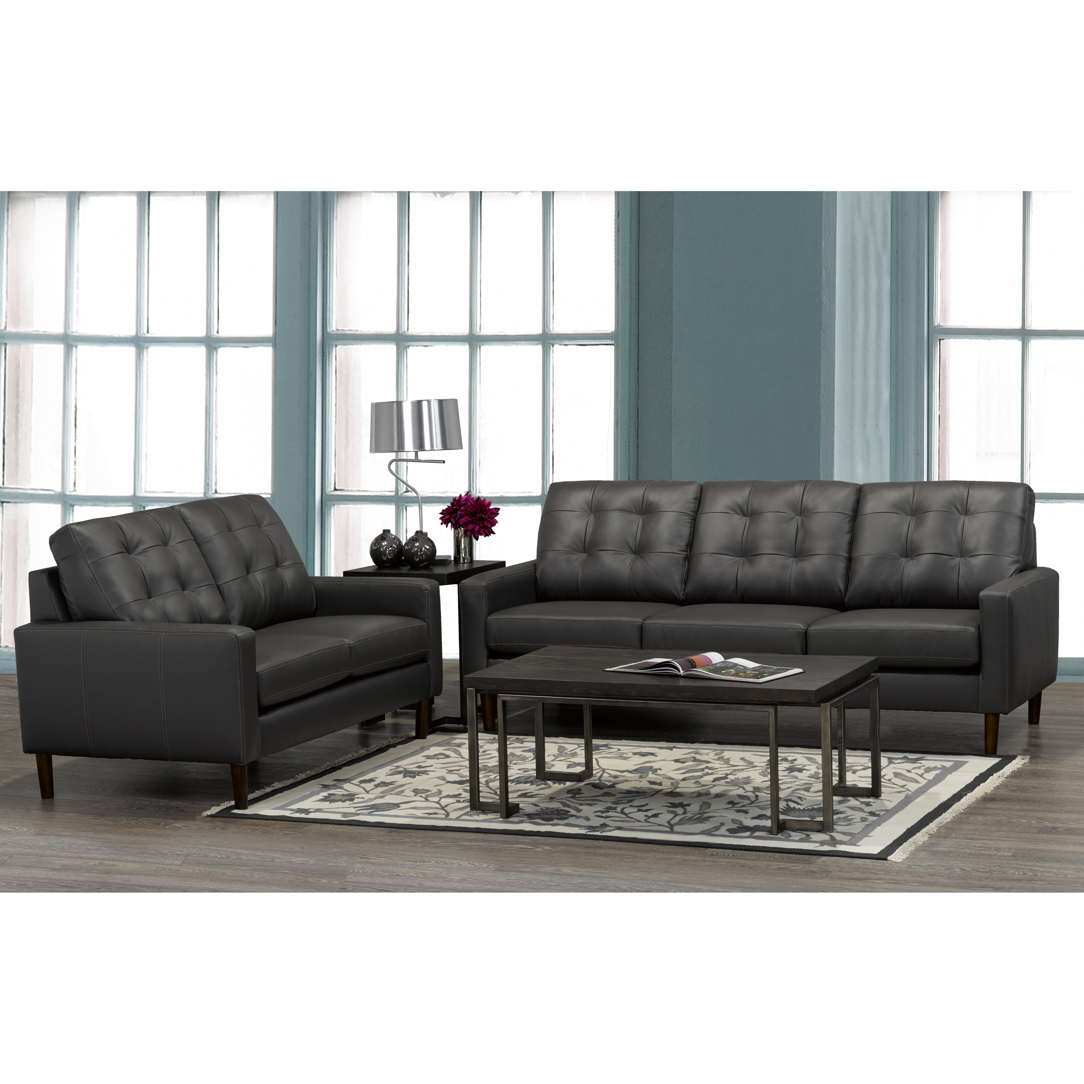 Gunner Mid Century Modern Dark Grey Top Grain Italian Leather Tufted Sofa And Loveseat On Free Shipping Today 20847561