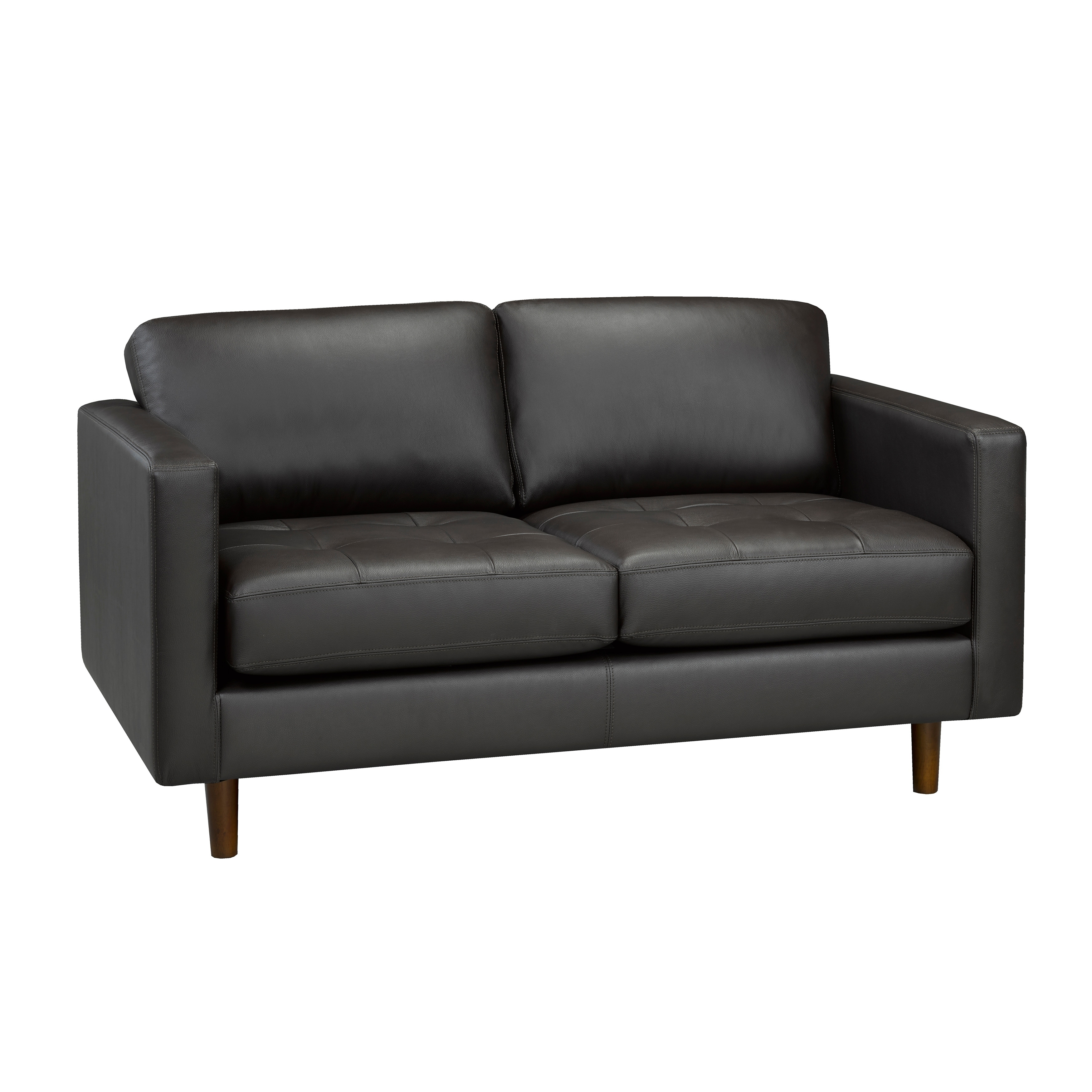 Lola Mid Century Modern Chocolate Brown Top Grain Italian Leather Tufted Sofa Loveseat And Chair On Free Shipping Today