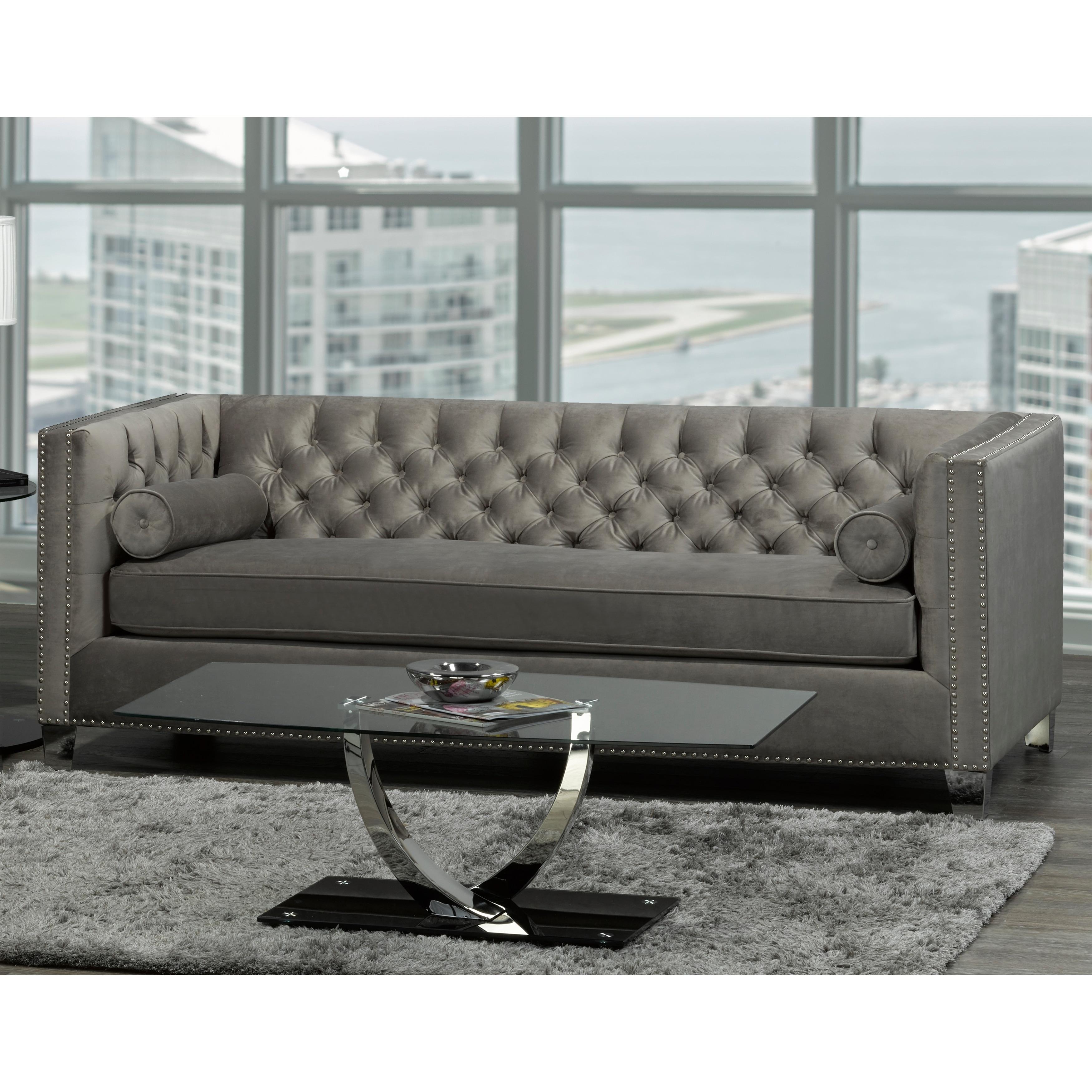 Hank Modern Grey Velvet Tufted Nailhead Sofa On Free Shipping Today 20847581