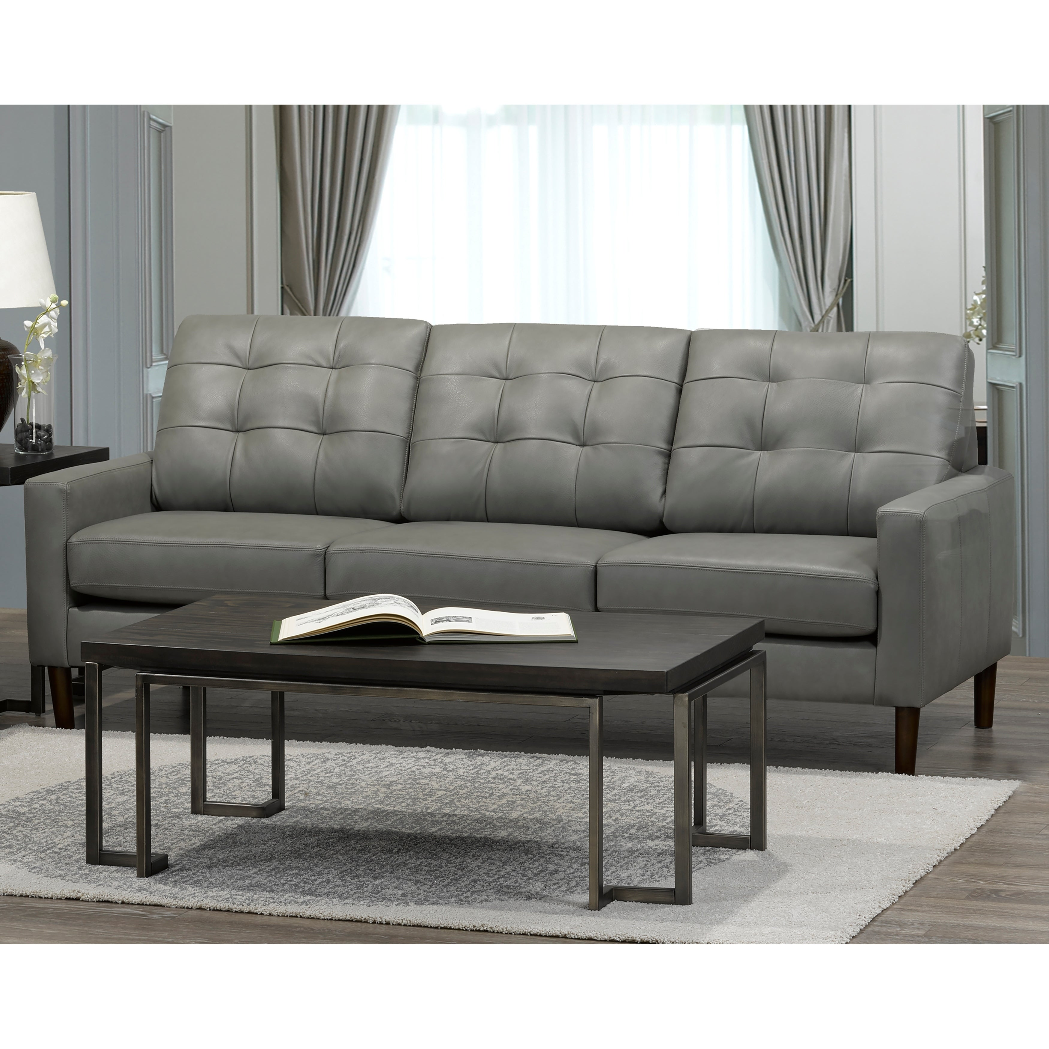 Shop colt mid century modern grey top grain italian leather tufted sofa on sale free shipping today overstock 20847586