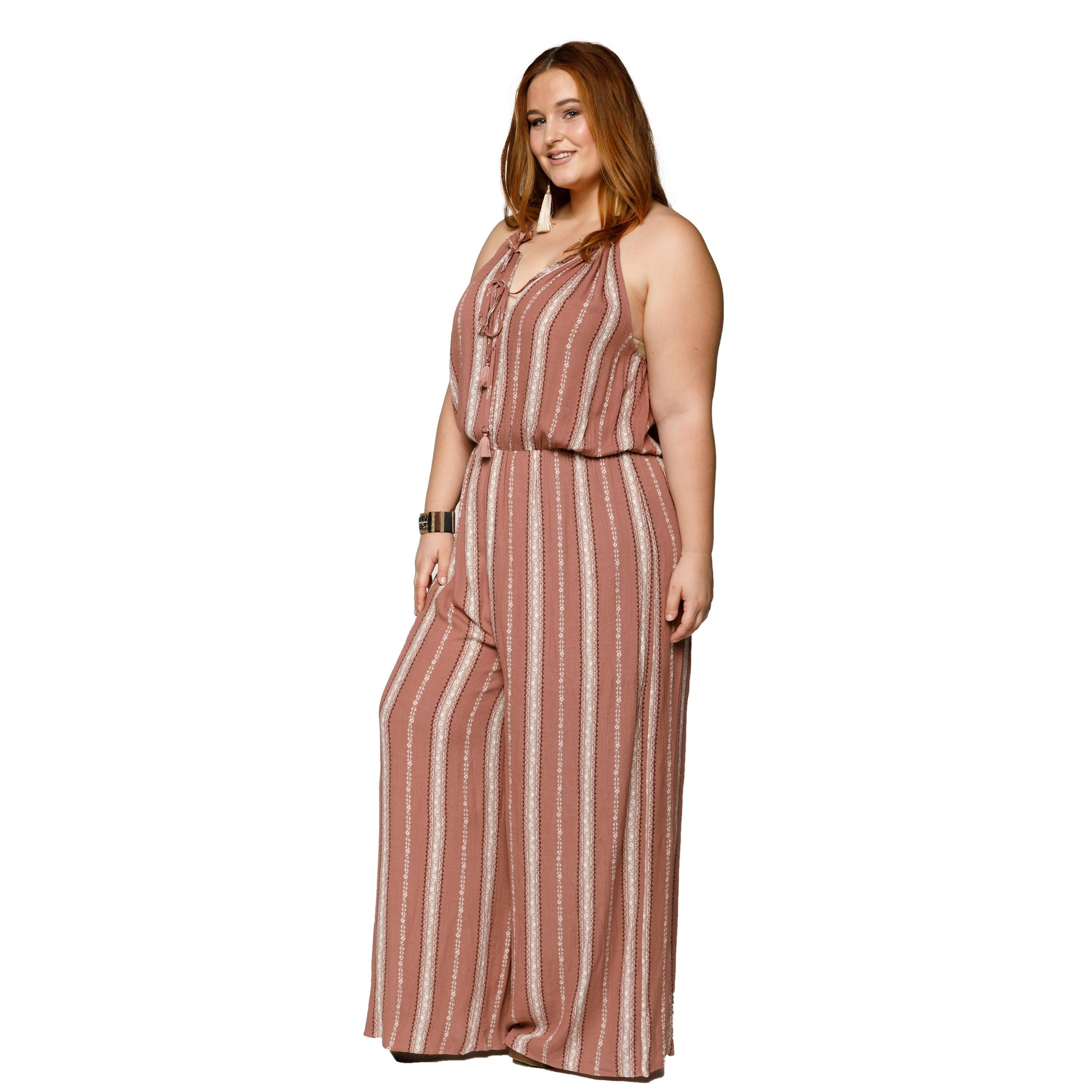 0eff8e5cfbe5 Shop Xehar Womens Plus Size Sexy Sleeveless Halter Tassel Tie Jumpsuit -  Free Shipping On Orders Over  45 - Overstock - 20851024