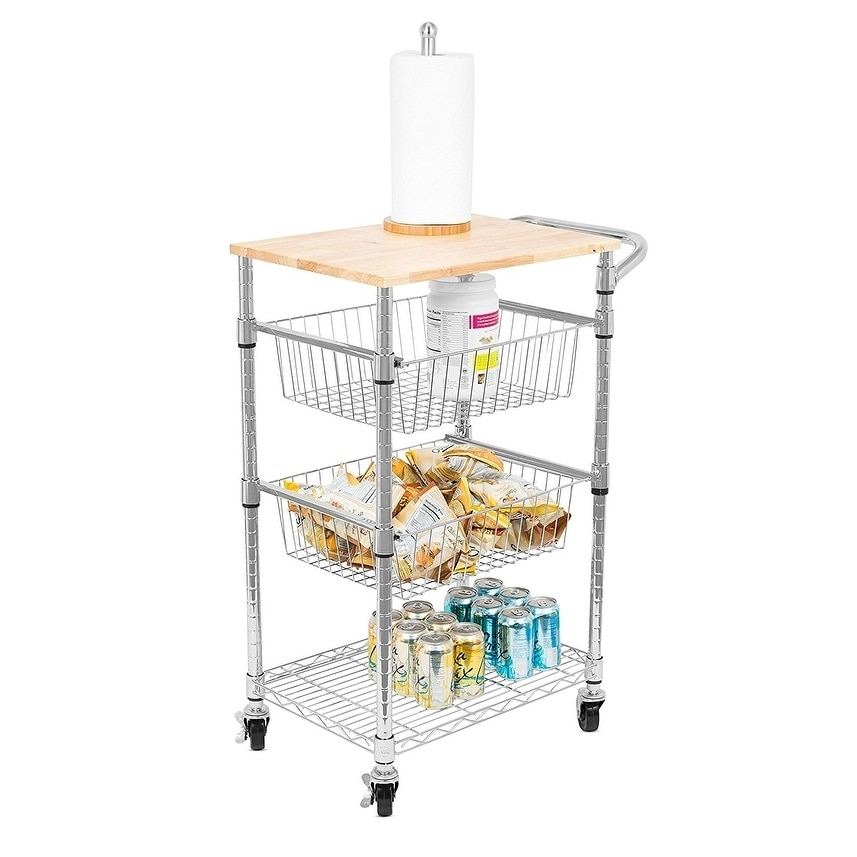 Shop Internetu0027s Best 3 Tier Kitchen Cart With Wire Baskets | Kitchen Island  Trolley With Locking Wheels | 2 Sliding Wire Baskets   Free Shipping Today  ...