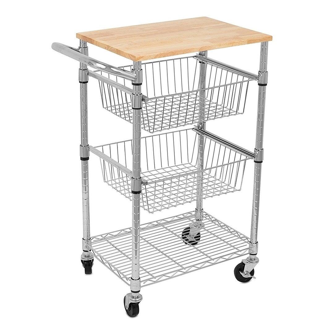 Shop Internet\'s Best 3-Tier Kitchen Cart with Wire Baskets | Kitchen ...