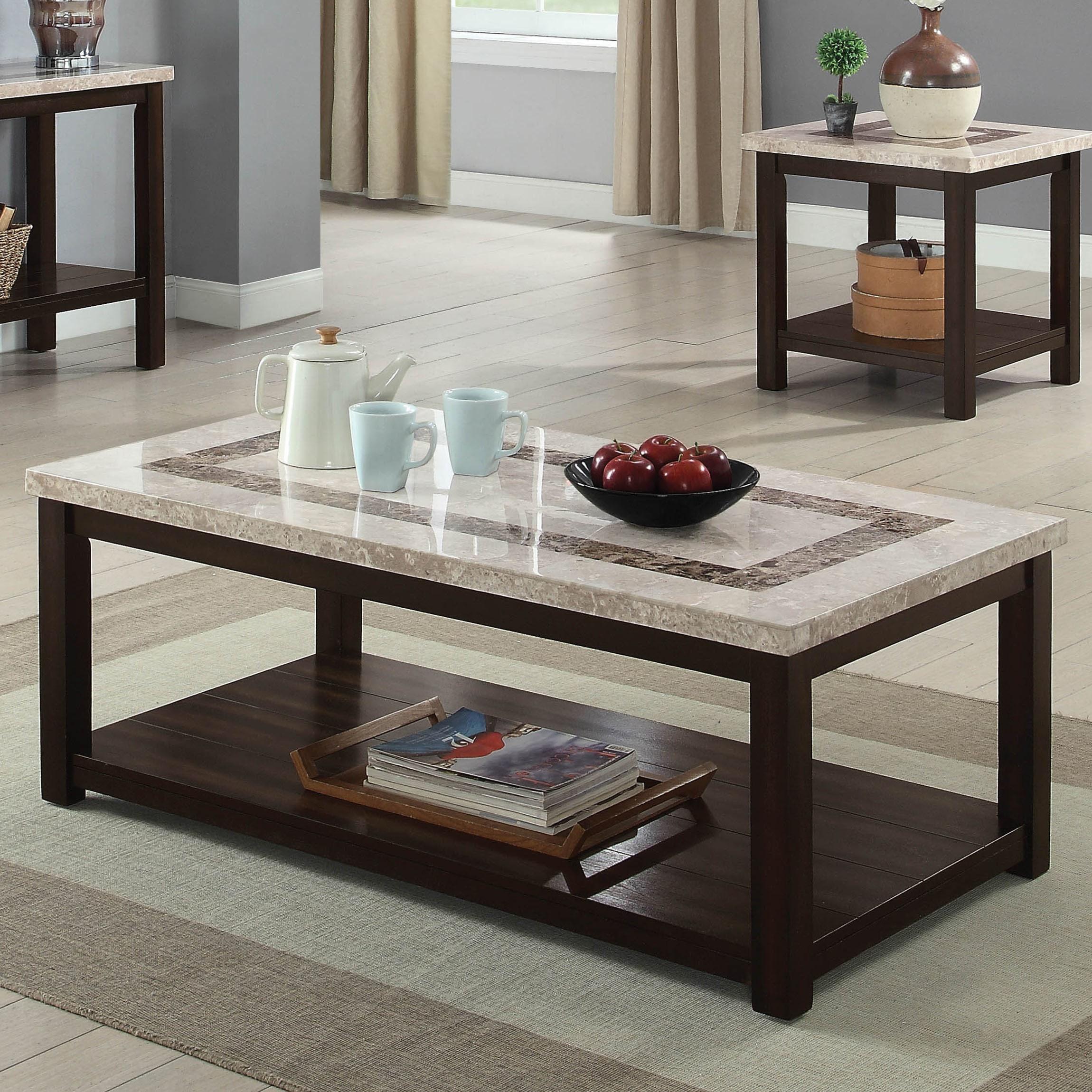 Shop Furniture Of America Calgary Genuine Marble Coffee Table On - Genuine marble coffee table