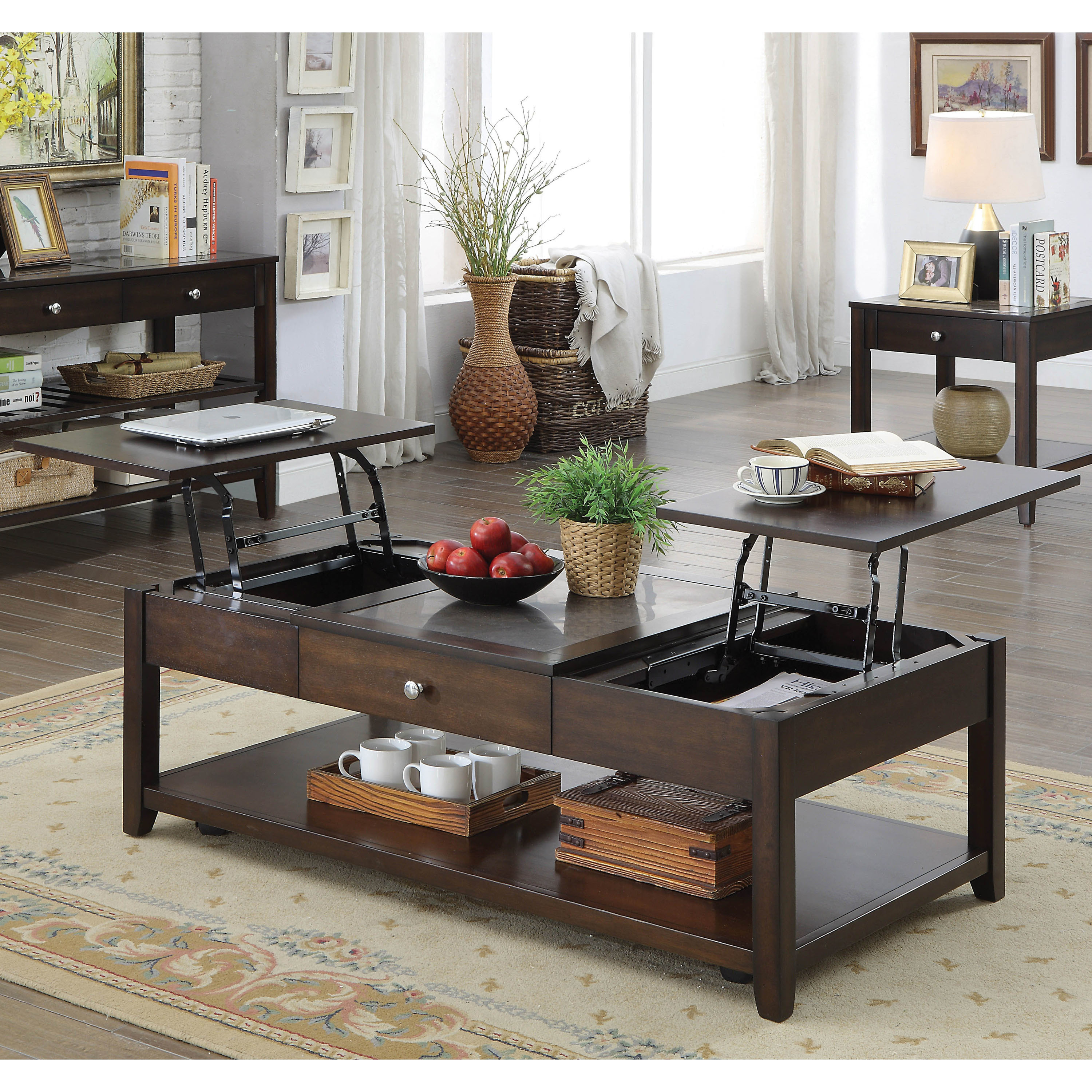 Furniture of america reveille espresso celestite lift top coffee table
