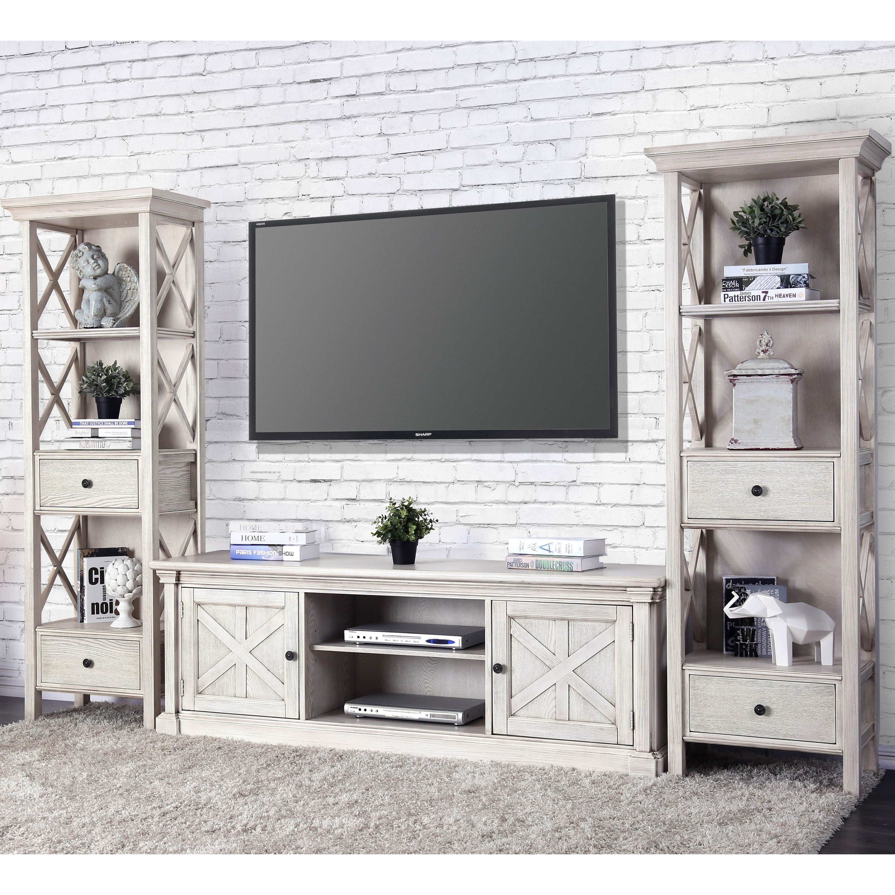 Furniture of America Lyle Rustic Antique White TV Stand Free