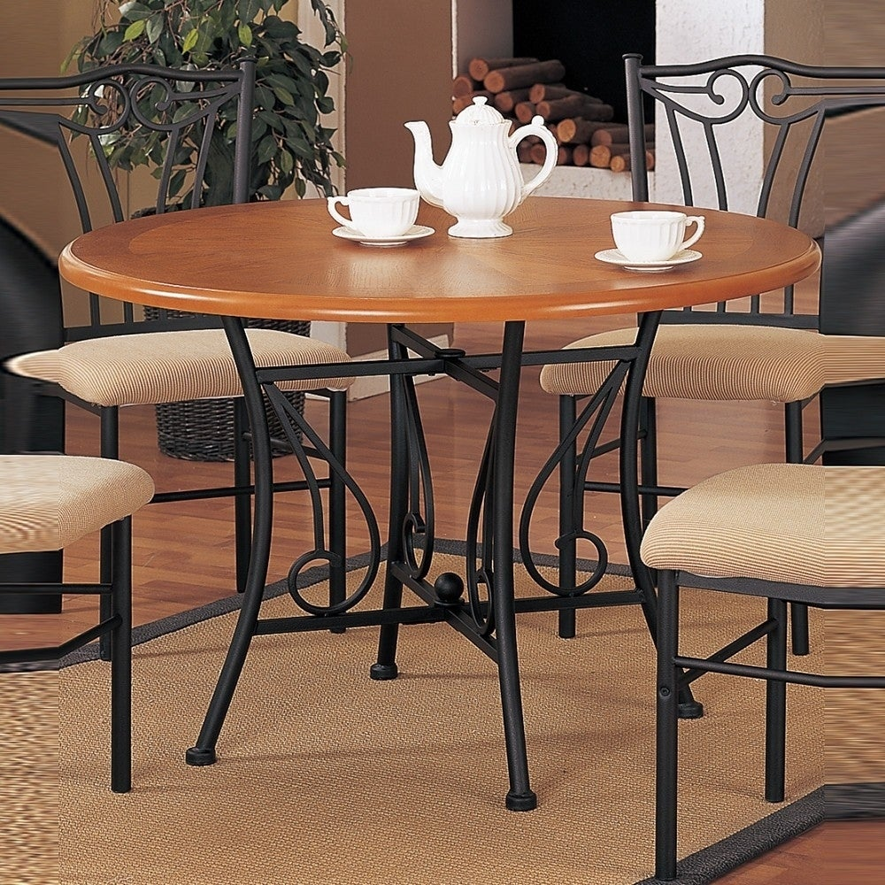 Shop sturdy round wooden dining table with metal base brown and black on sale free shipping today overstock com 20855888
