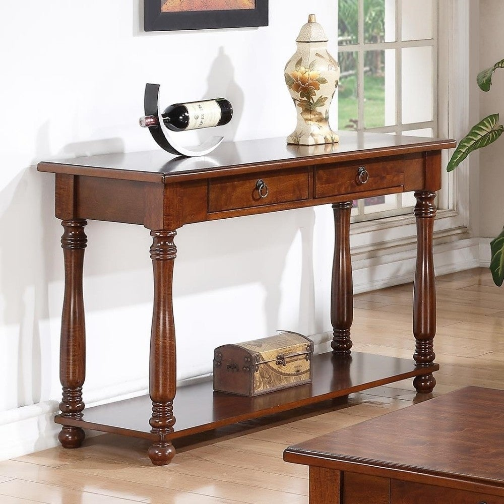 Shop traditional style wooden console table brown on sale free shipping today overstock com 20855958