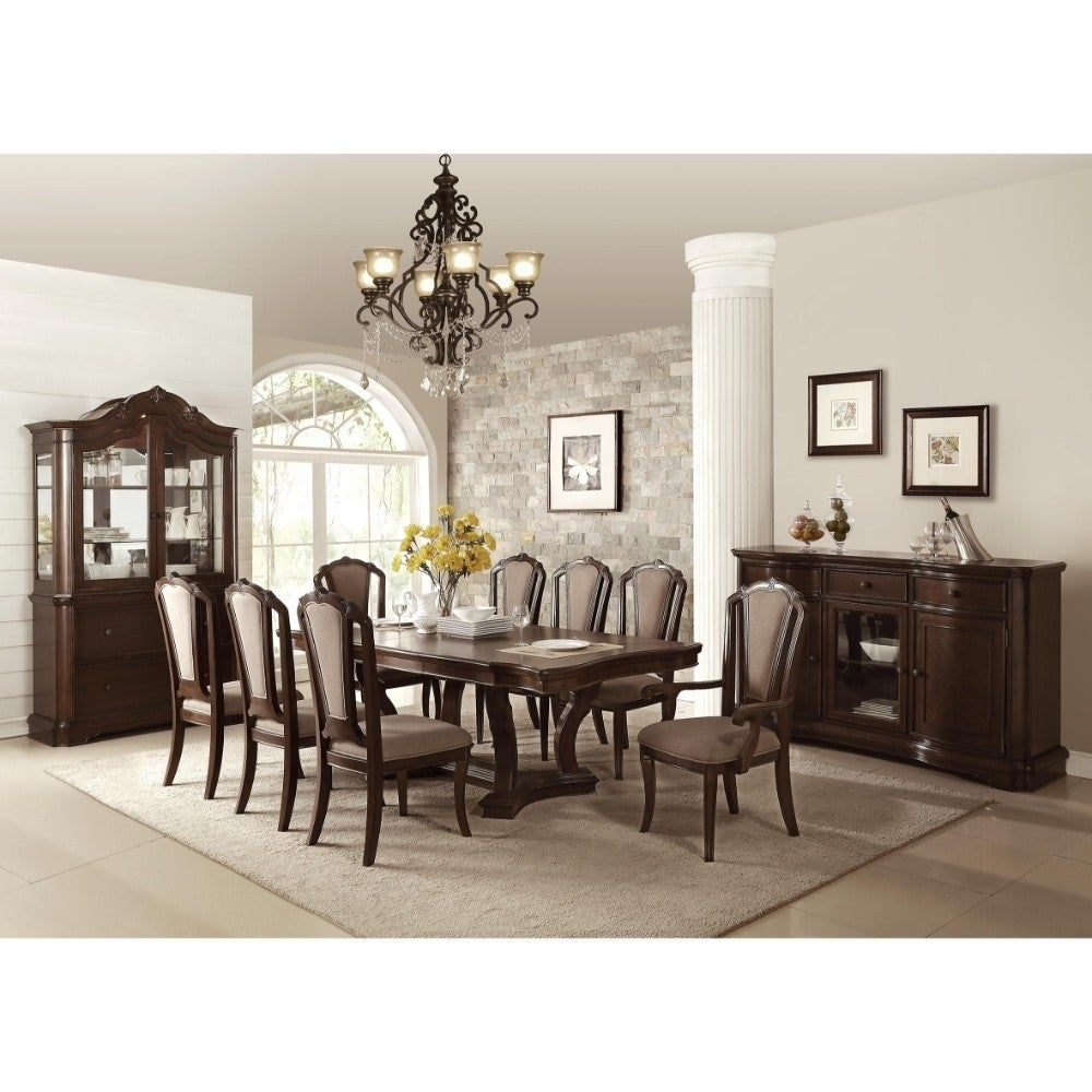 Shop traditional birch wood dining table with curved edges dark walnut brown free shipping today overstock com 20855970