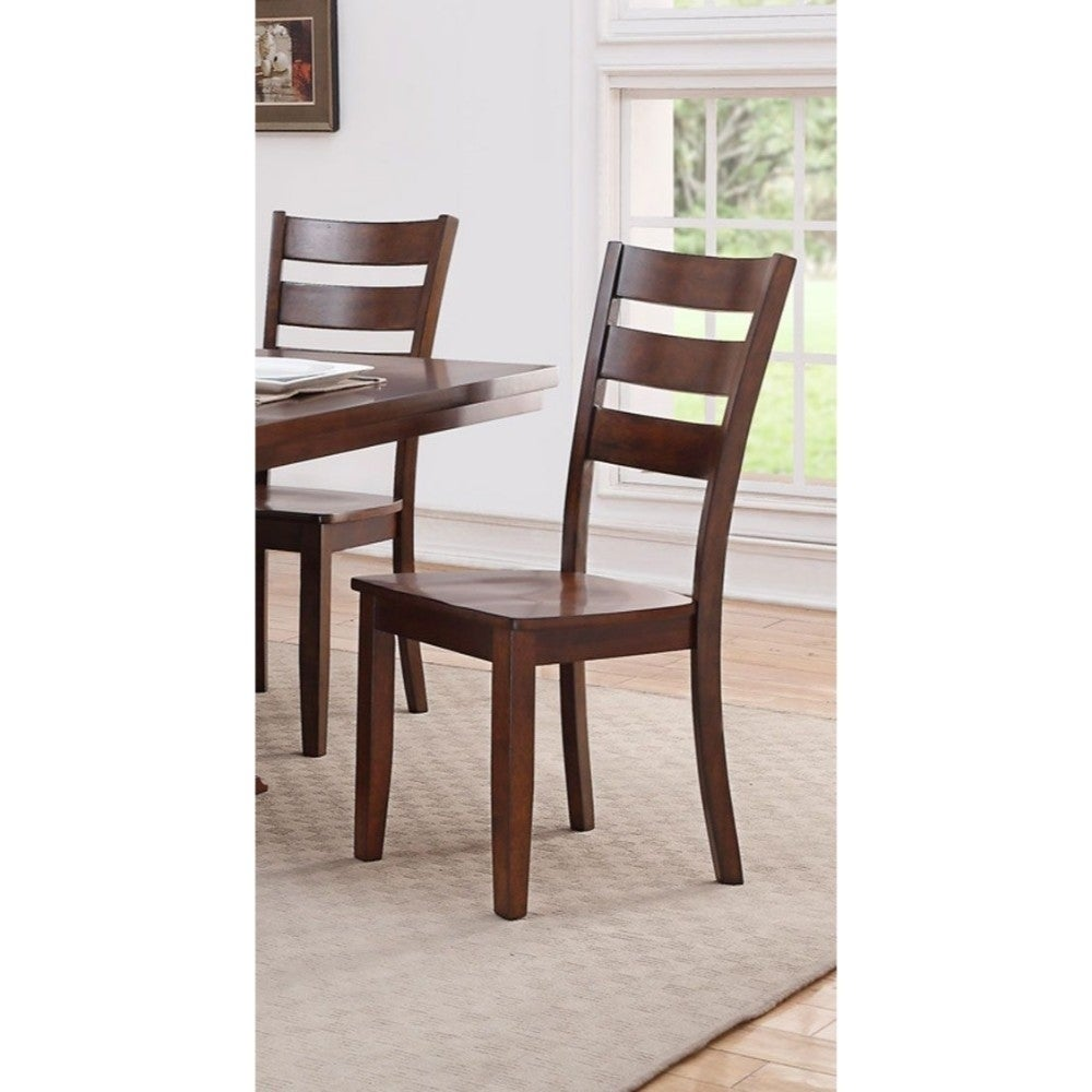 Shop modern rubber wood dining chair with ladder back set of 2brown free shipping today overstock com 20856101