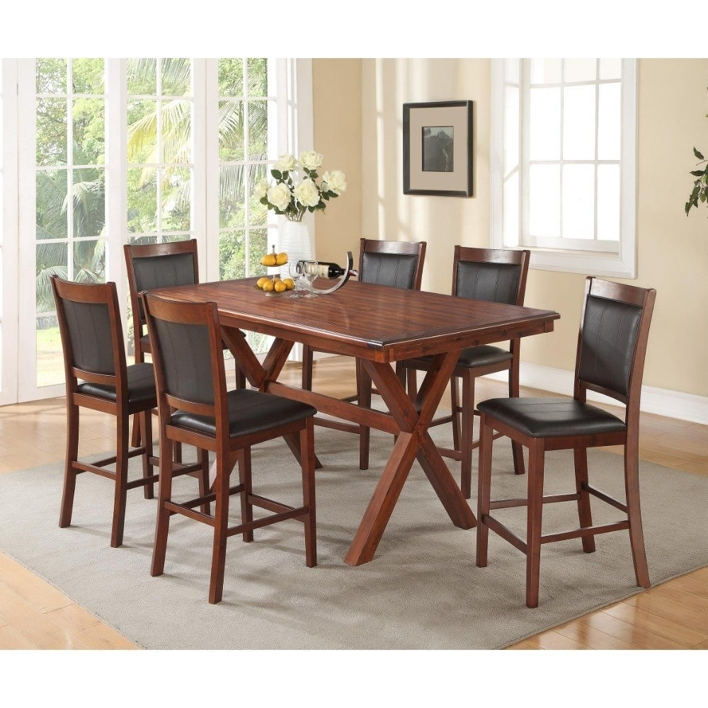 Shop x cross styled acacia wood poplar veneer dining table brown free shipping today overstock com 20856243