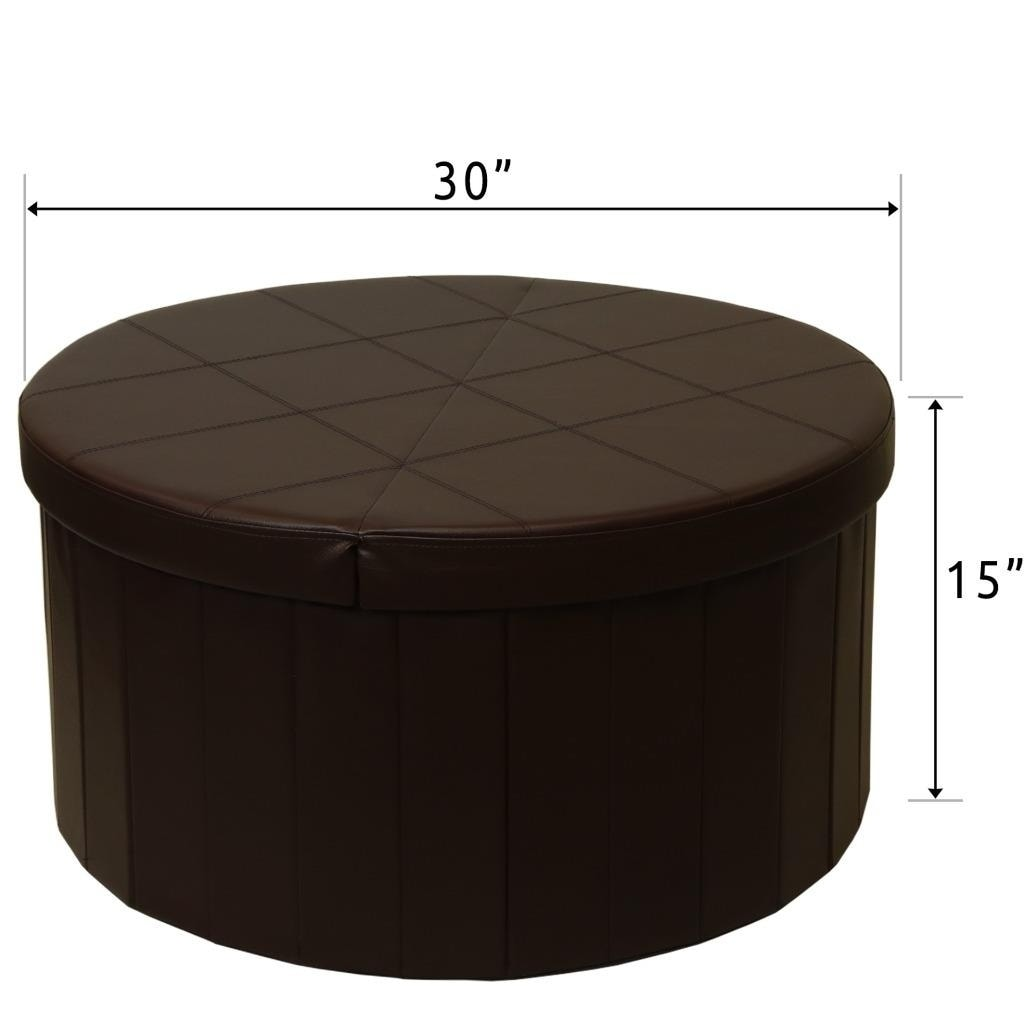 Storage Ottoman With Folding Round Coffee Table Foot Rest Stools Chocolate Crown Comfort On Free Shipping Today 20859136
