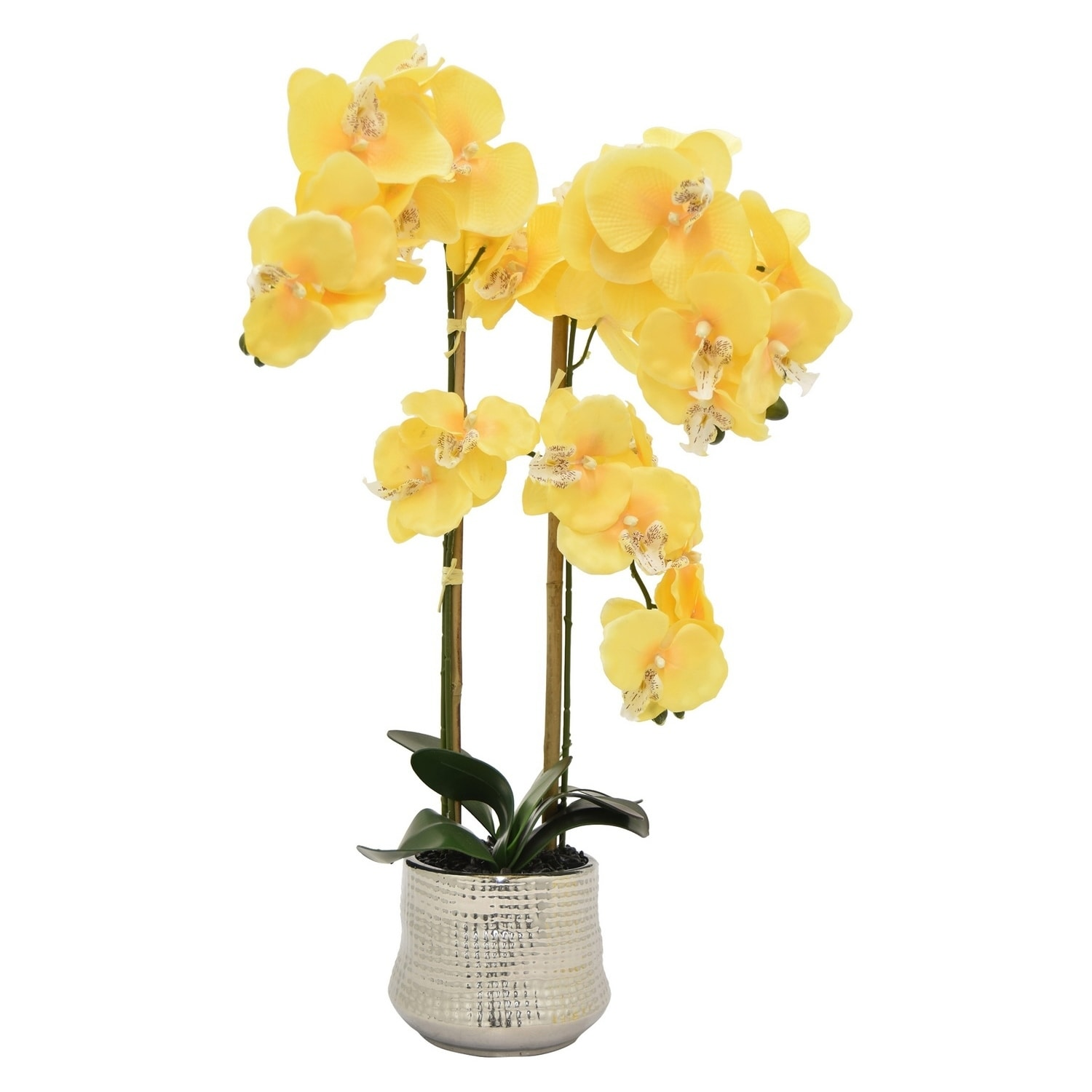 Shop 26 Three Hands Faux Orchid Flower Pot Yellow Free Shipping