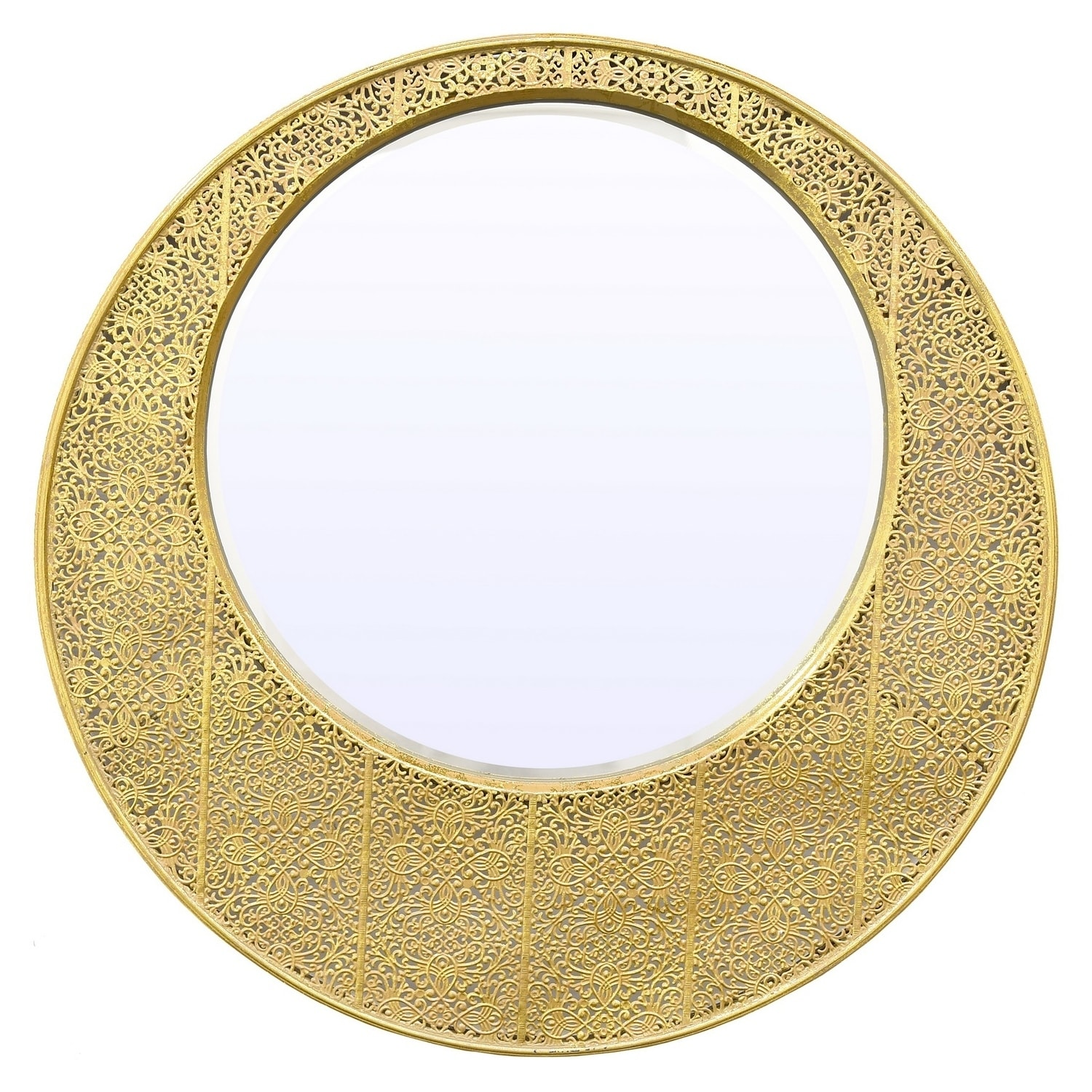 Shop 27.5 in. Three Hands Beveled Mirror-Gold - Gold - N/A - On Sale ...