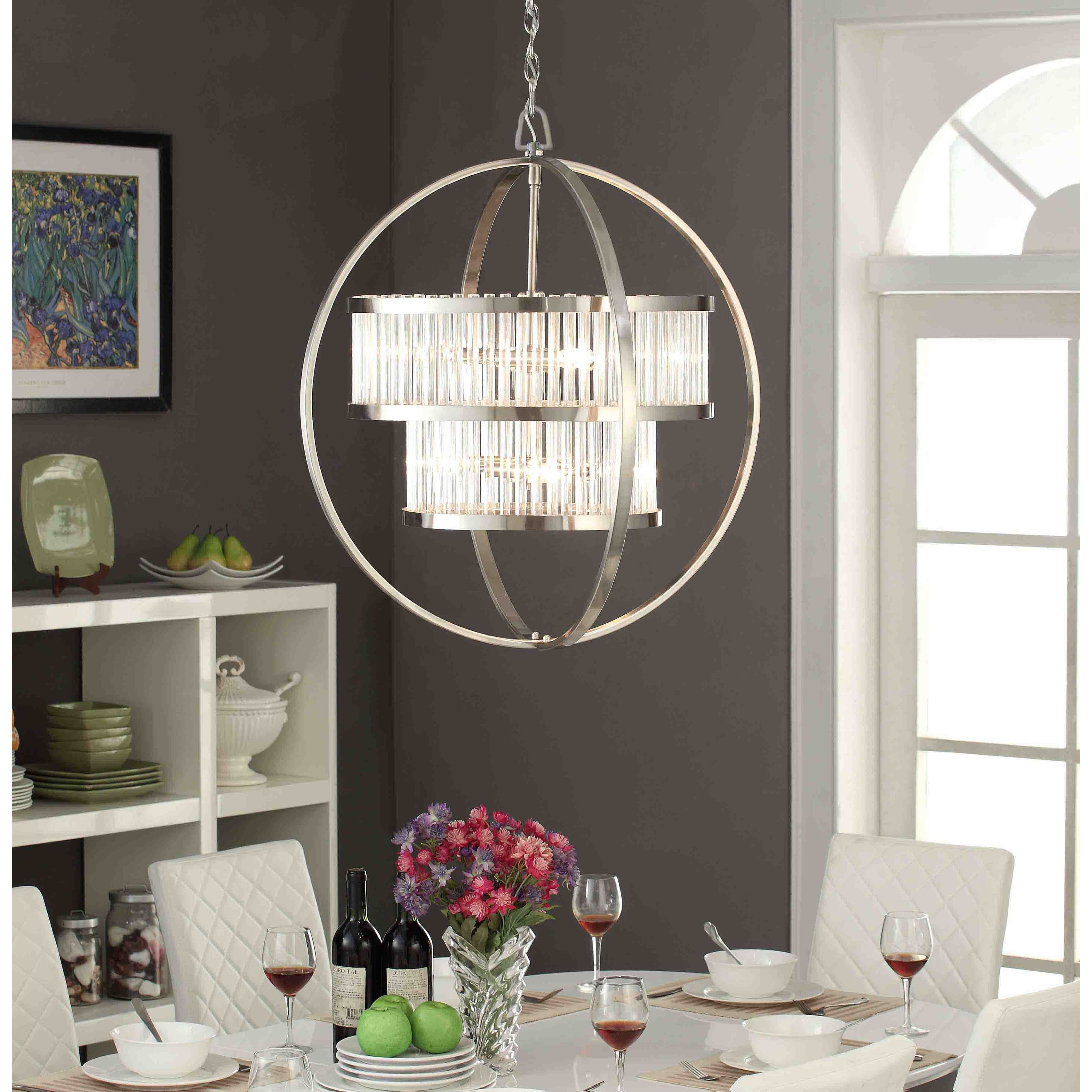 Brushed Nickel Crystal Orb 6 Light Chandelier As Is Item Free Shipping Today 20861342