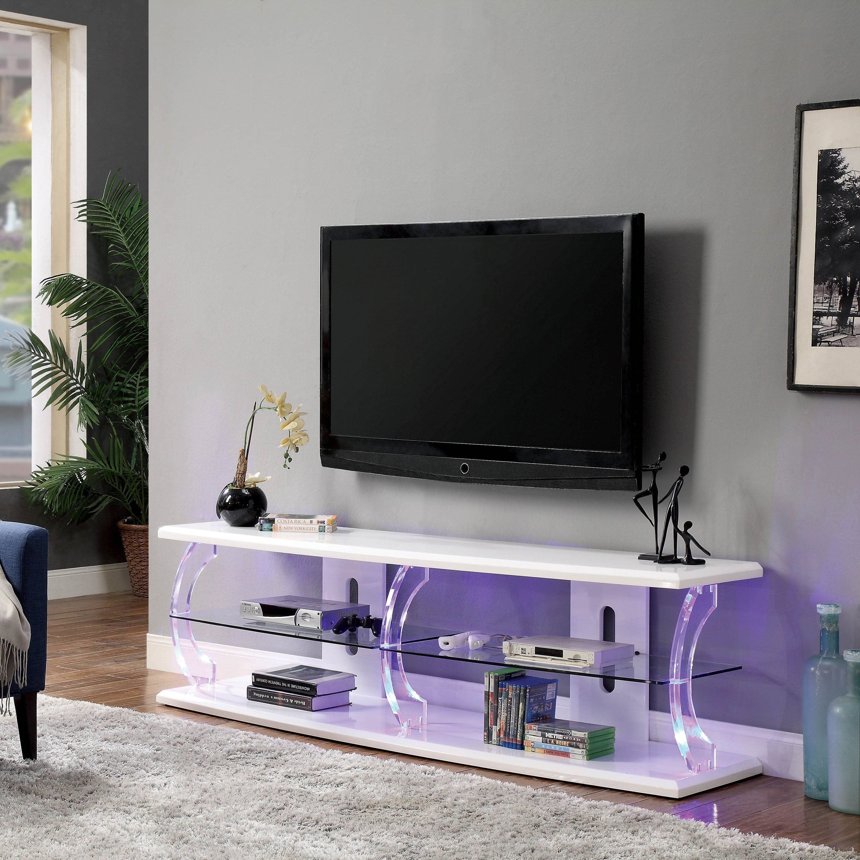Shop Furniture Of America Tekna Modern TV Stand With LED   On Sale   Free  Shipping Today   Overstock.com   20865583