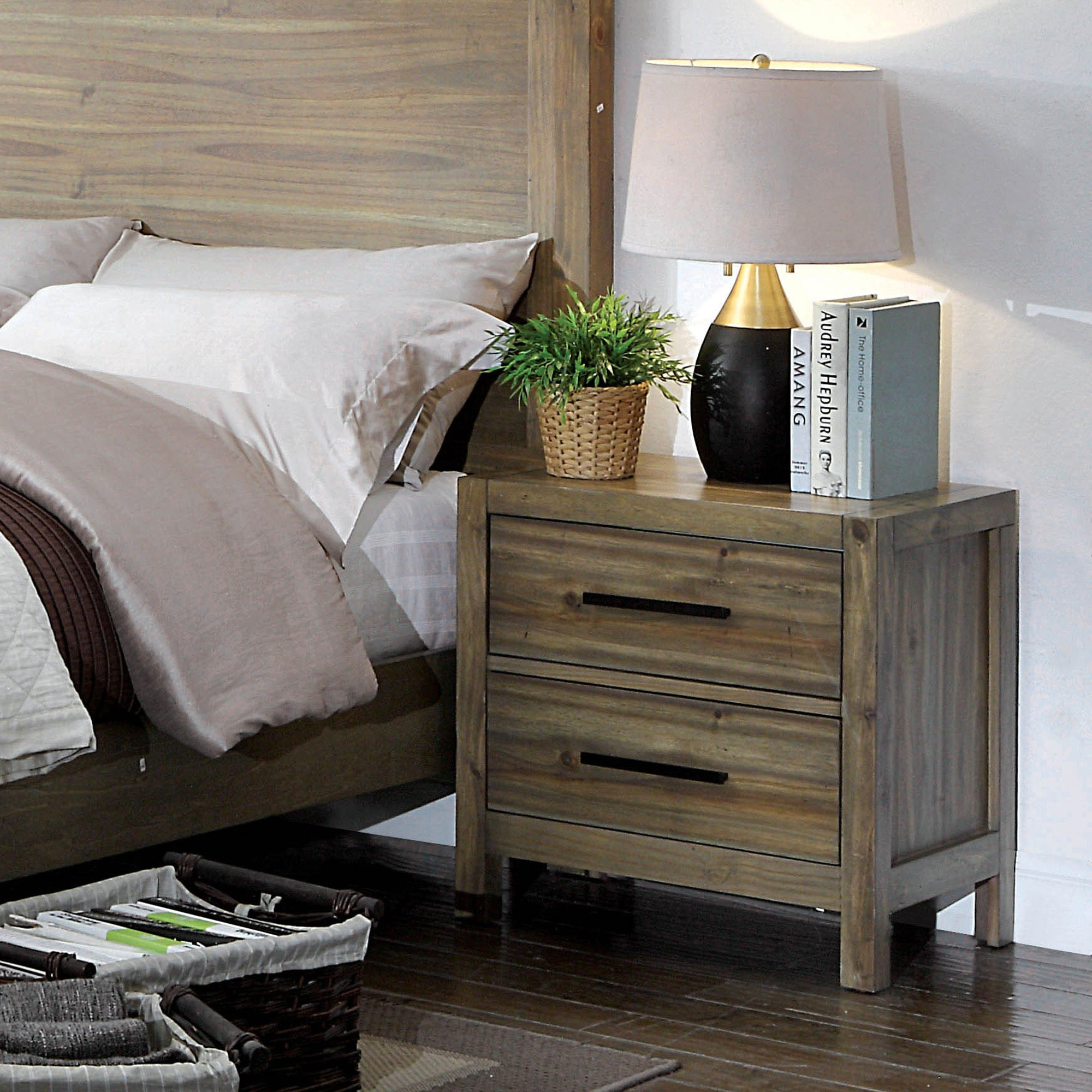 Furniture of america holstead rustic light oak 2 drawer nightstand