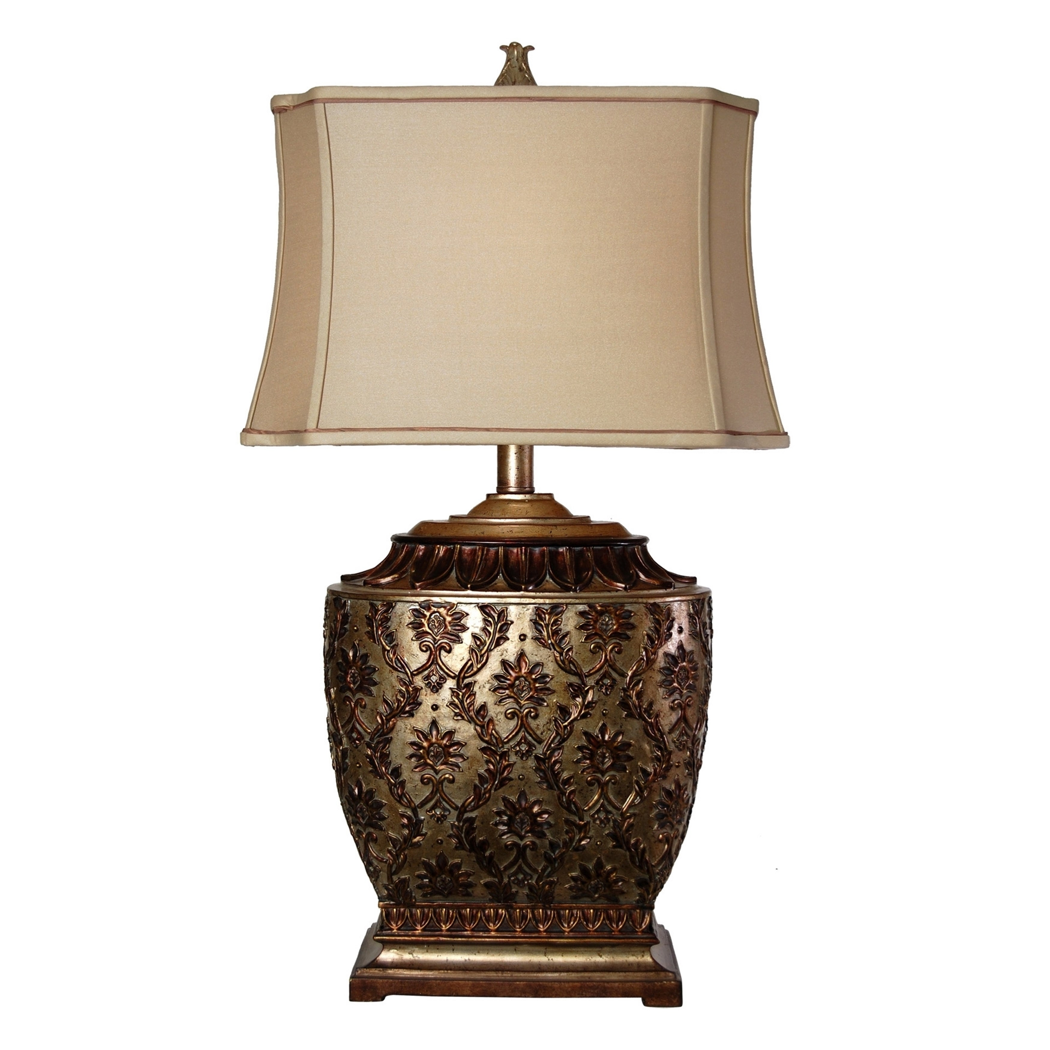 Jane seymour antique platinum barbados table lamp beige fabric shade