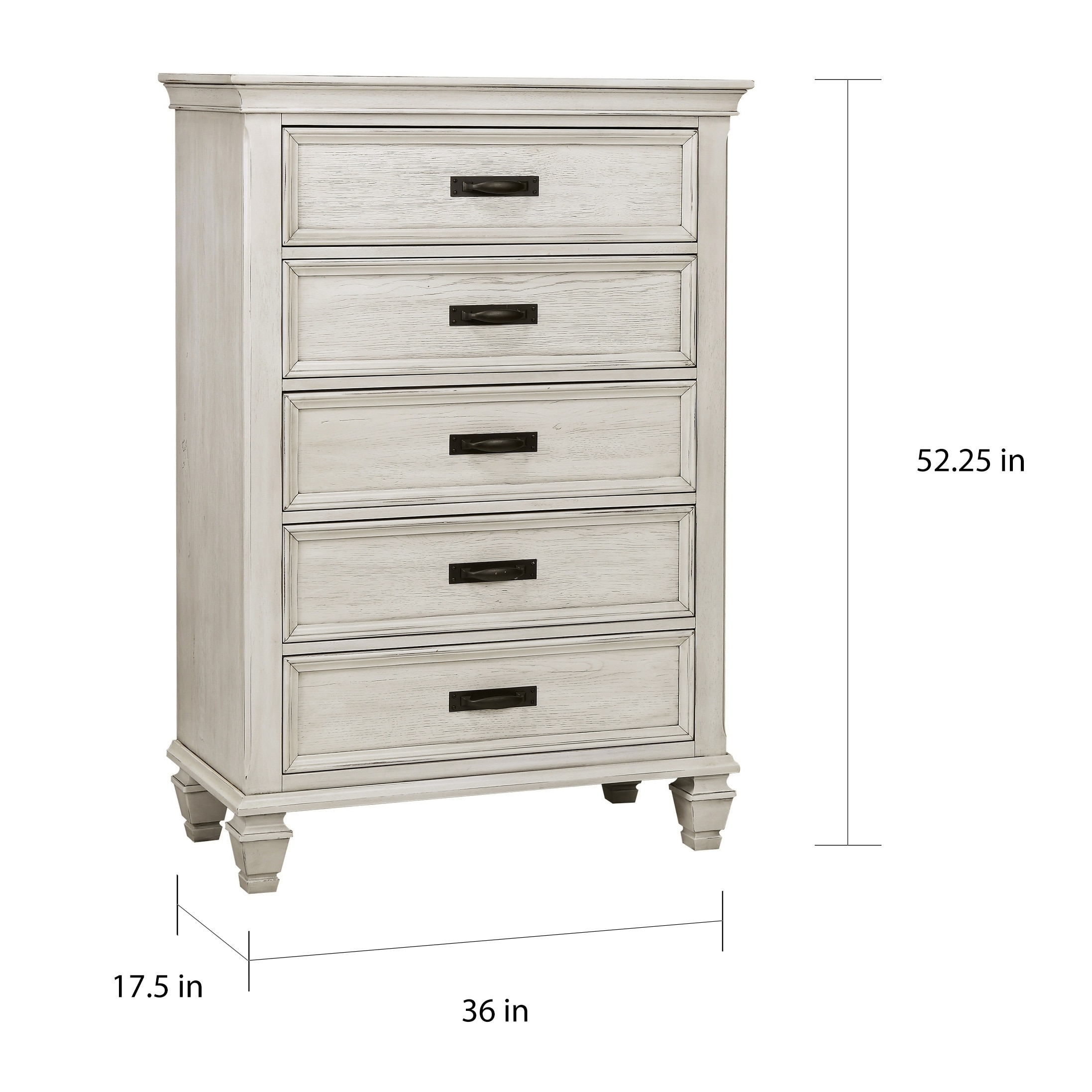 Shop franco antique white 5 drawer chest free shipping today overstock com 20875324