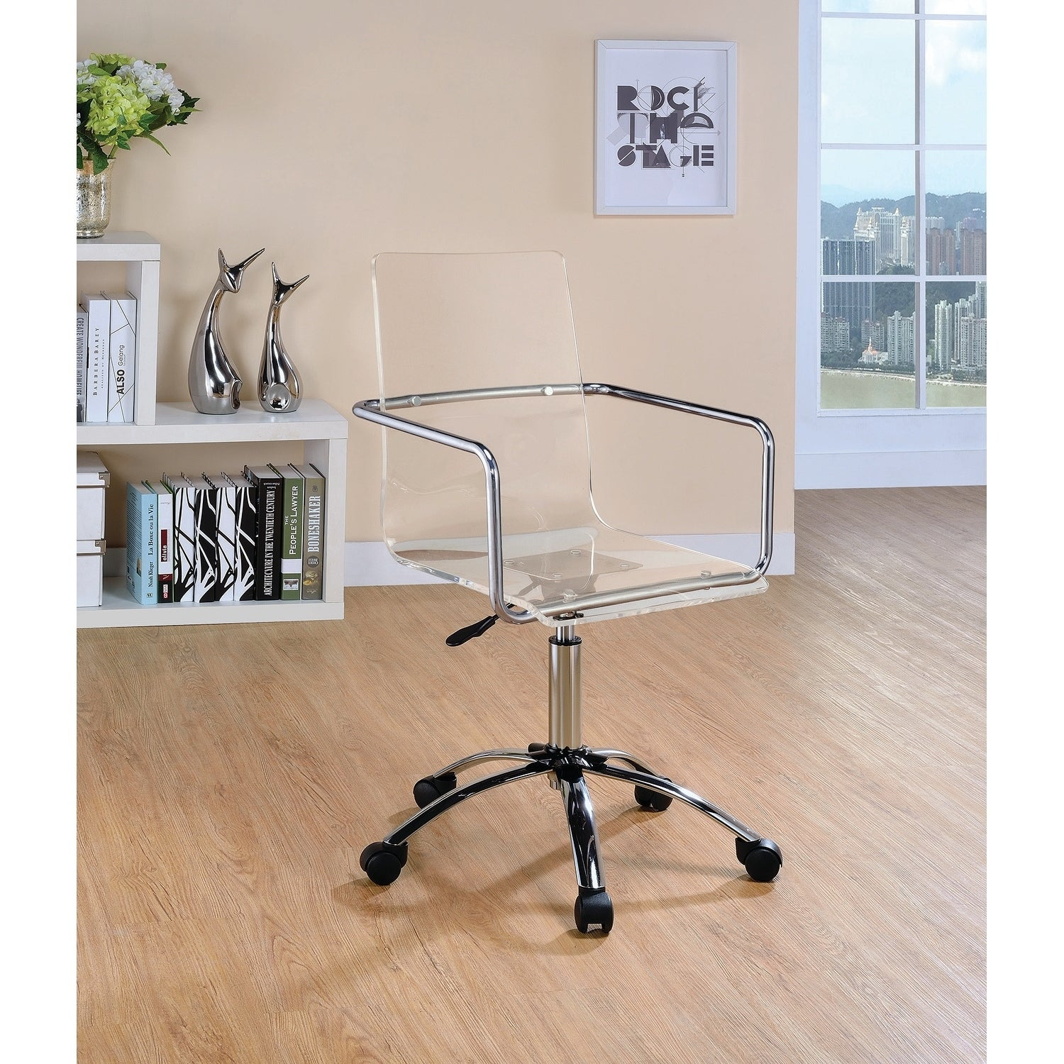 Shop contemporary clear acrylic office chair free shipping today overstock com 20875408