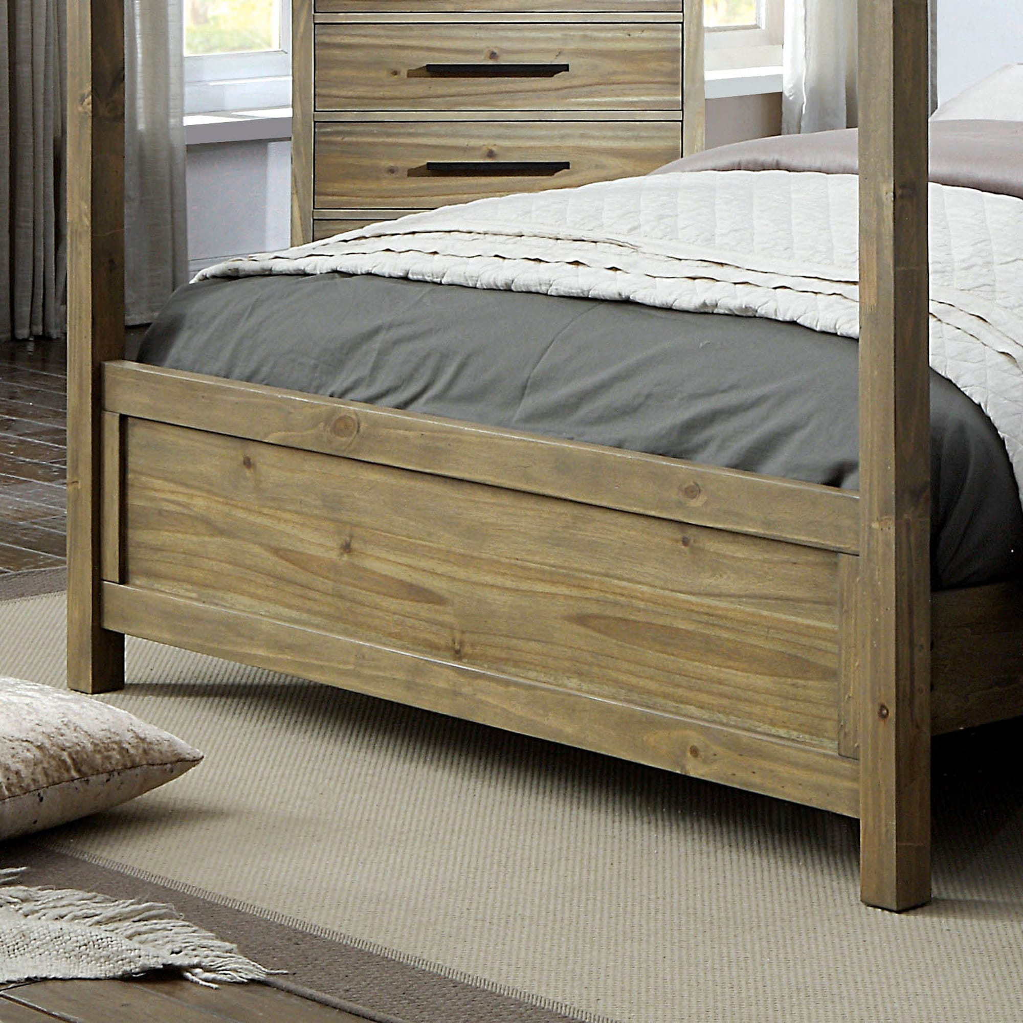 Shop Furniture of America Holstead I Rustic Light Oak Wooden Canopy Bed - On Sale - Free Shipping Today - Overstock.com - 20879242 & Shop Furniture of America Holstead I Rustic Light Oak Wooden Canopy ...