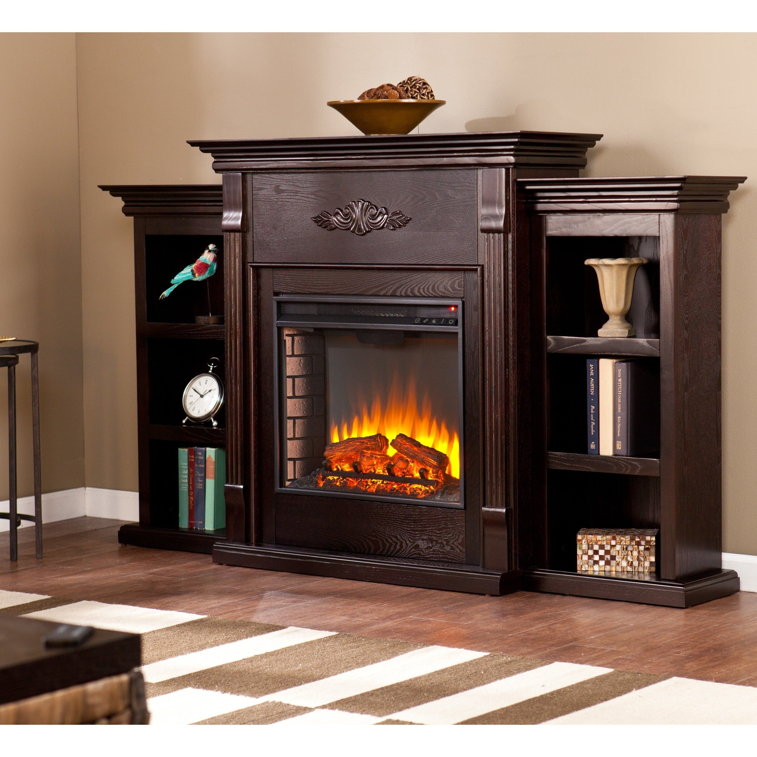 Shop Gracewood Hollow Forbes 70 Inch Espresso Electric Fireplace N
