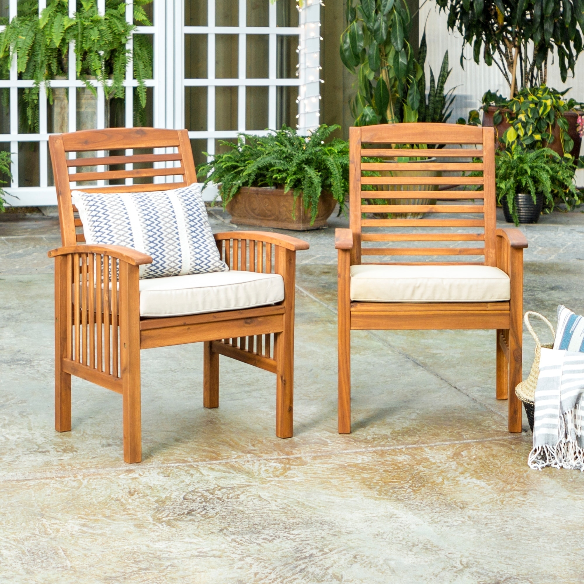 shop havenside home surfside acacia wood patio chairs set of 2 rh overstock com wooden patio chairs for sale wood patio chairs for sale