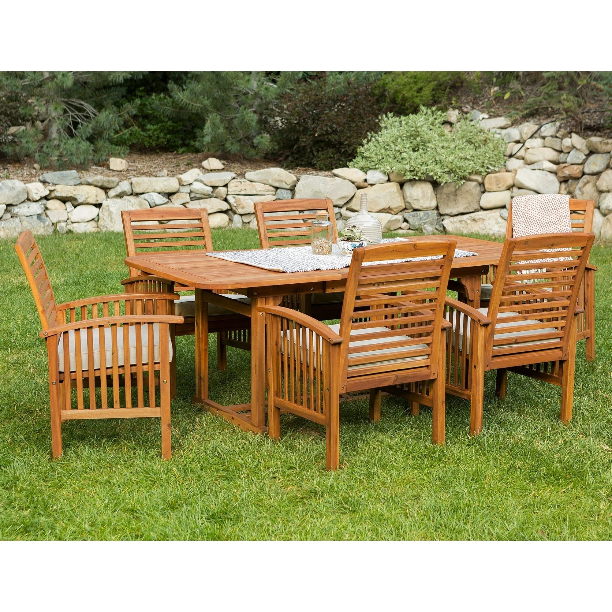 The Gray Barn Bluebird 7 Piece Acacia Wood Patio Dining Set   Free Shipping  Today   Overstock   15069974