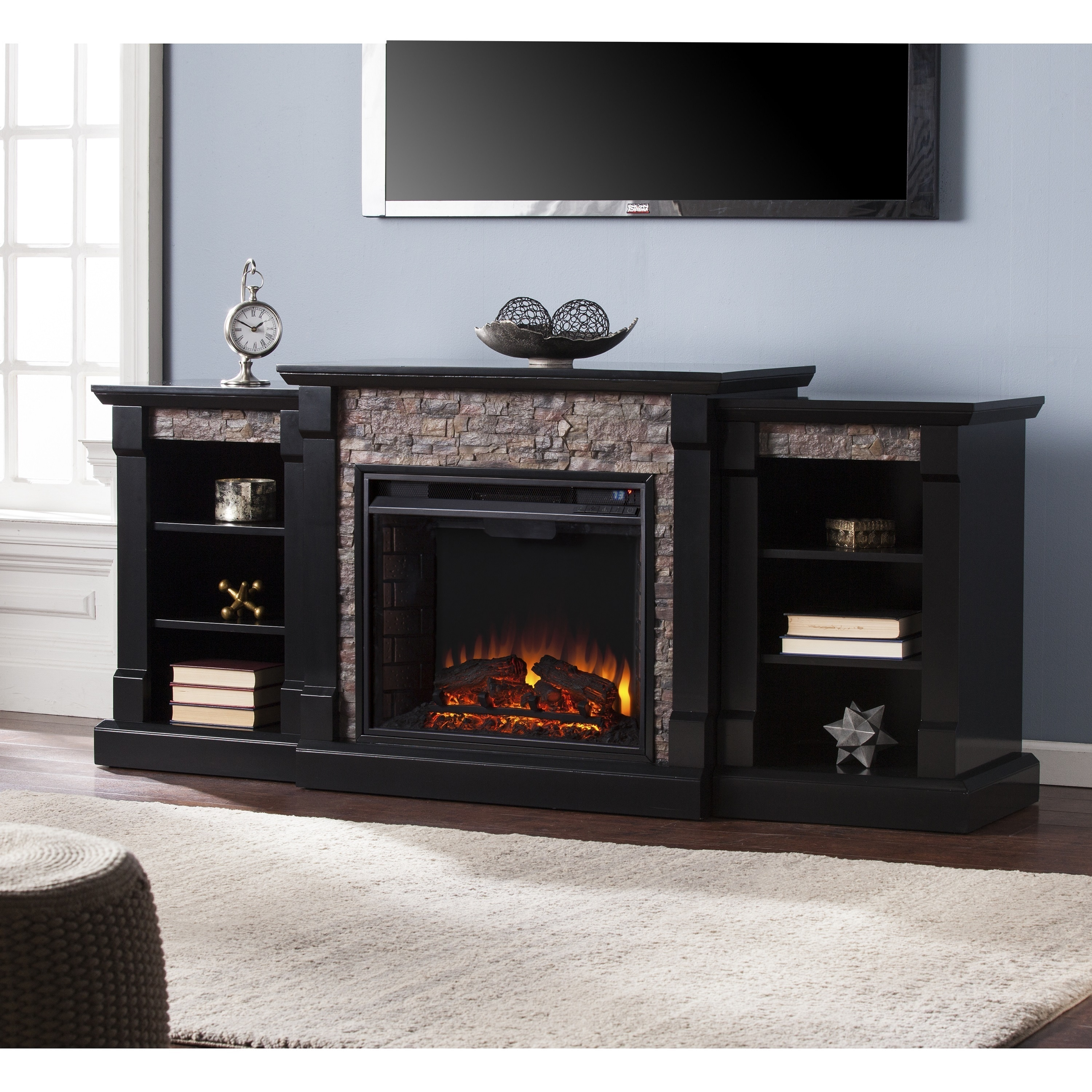 Shop Copper Grove Hay River Black Faux Stone Electric Fireplace With