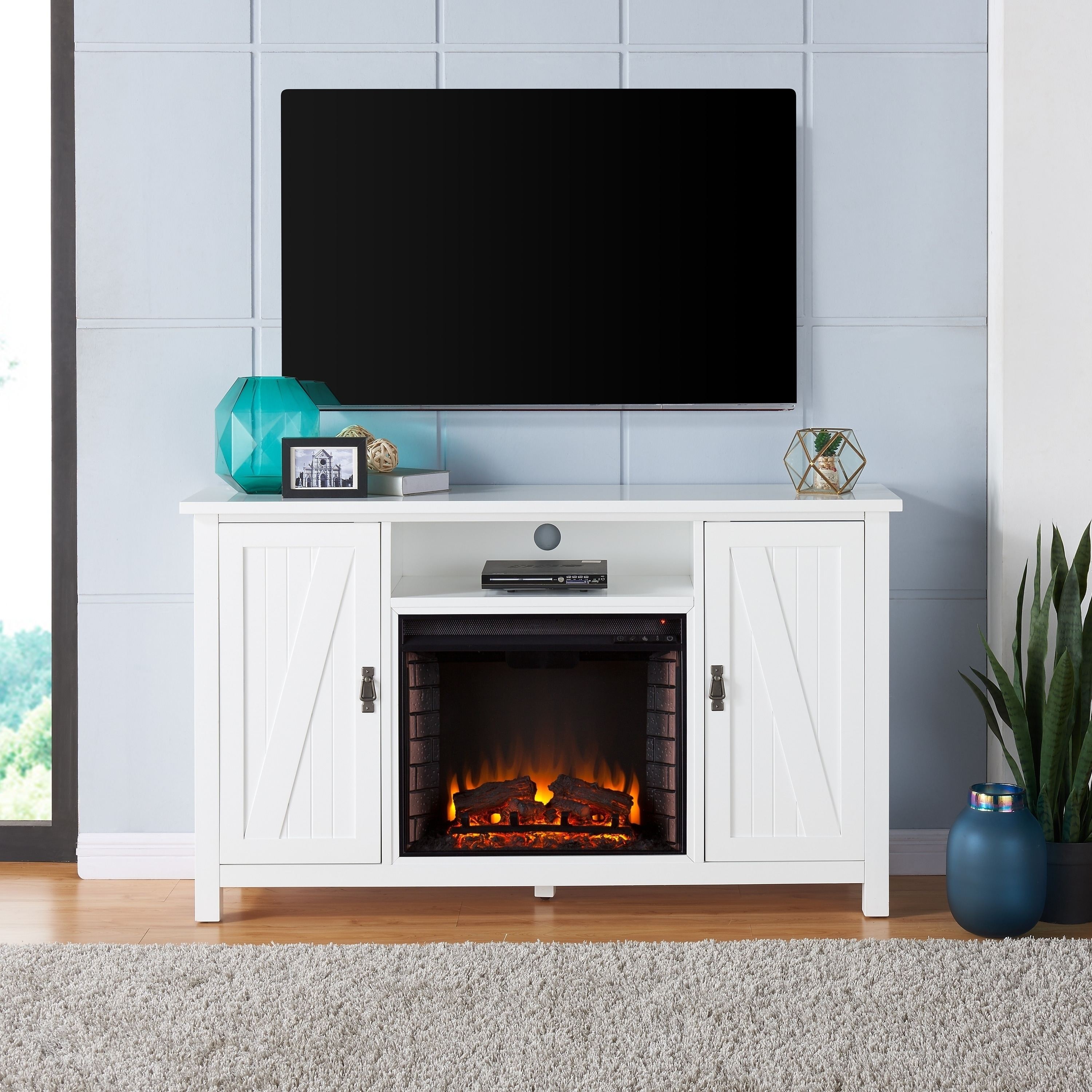 Shop The Gray Barn Genesee Farmhouse Style Electric Fireplace Tv