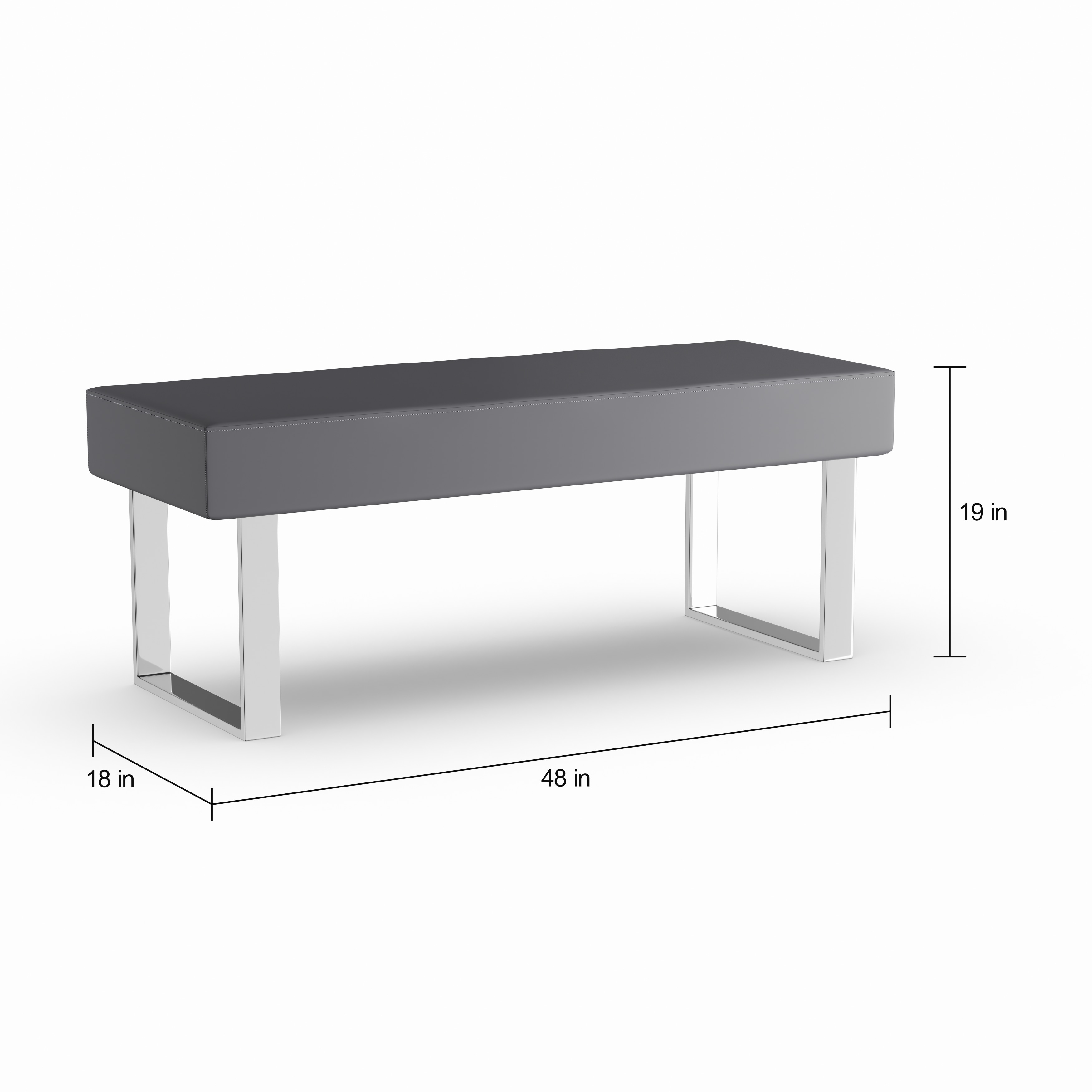Shop Oliver U0026 James Natalia Grey Faux Leather Dining Bench   On Sale   Free  Shipping Today   Overstock.com   20882646
