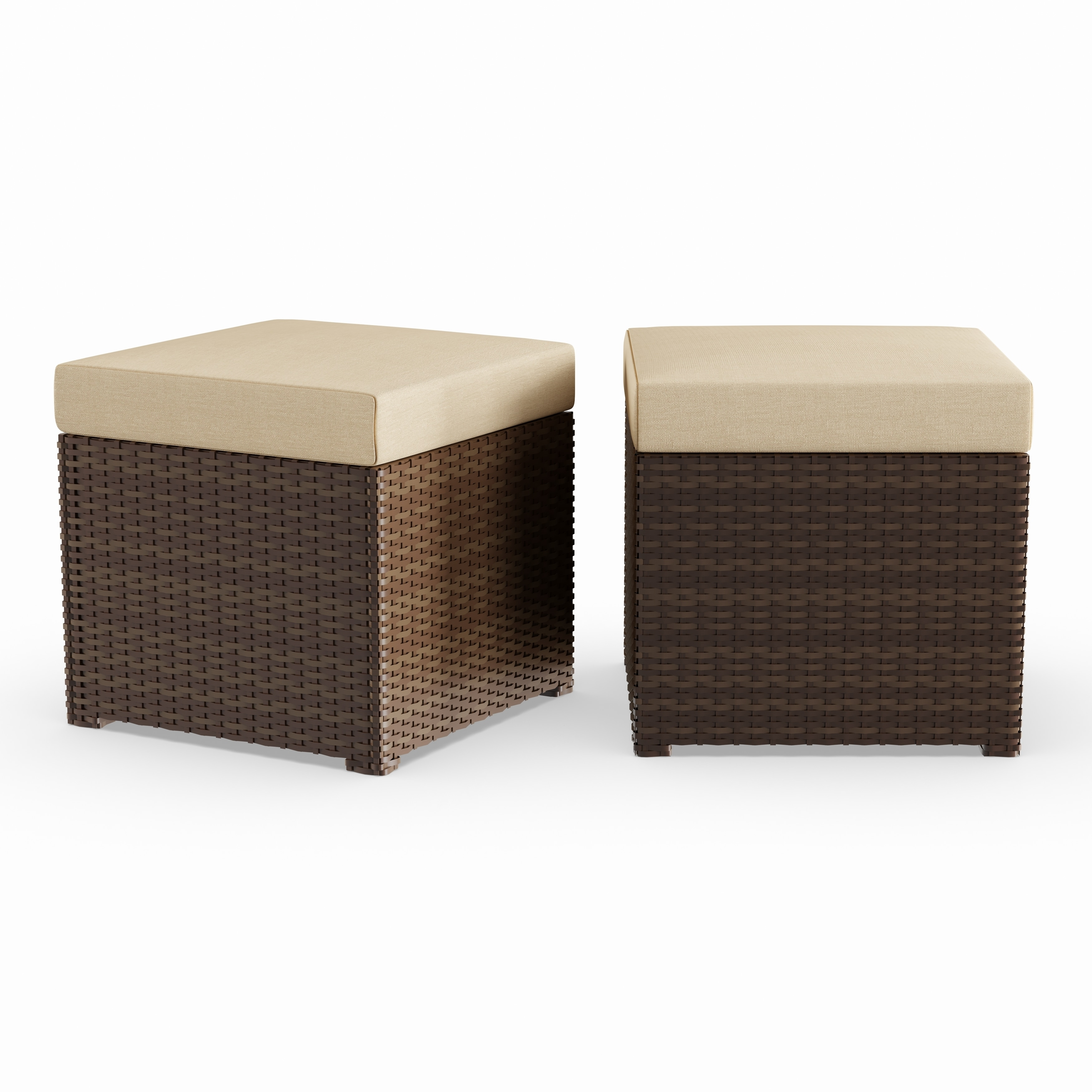 Shop havenside home stillwater 2 piece indoor outdoor dark brown woven resin rattan ottoman set with tan cushions on sale free shipping today