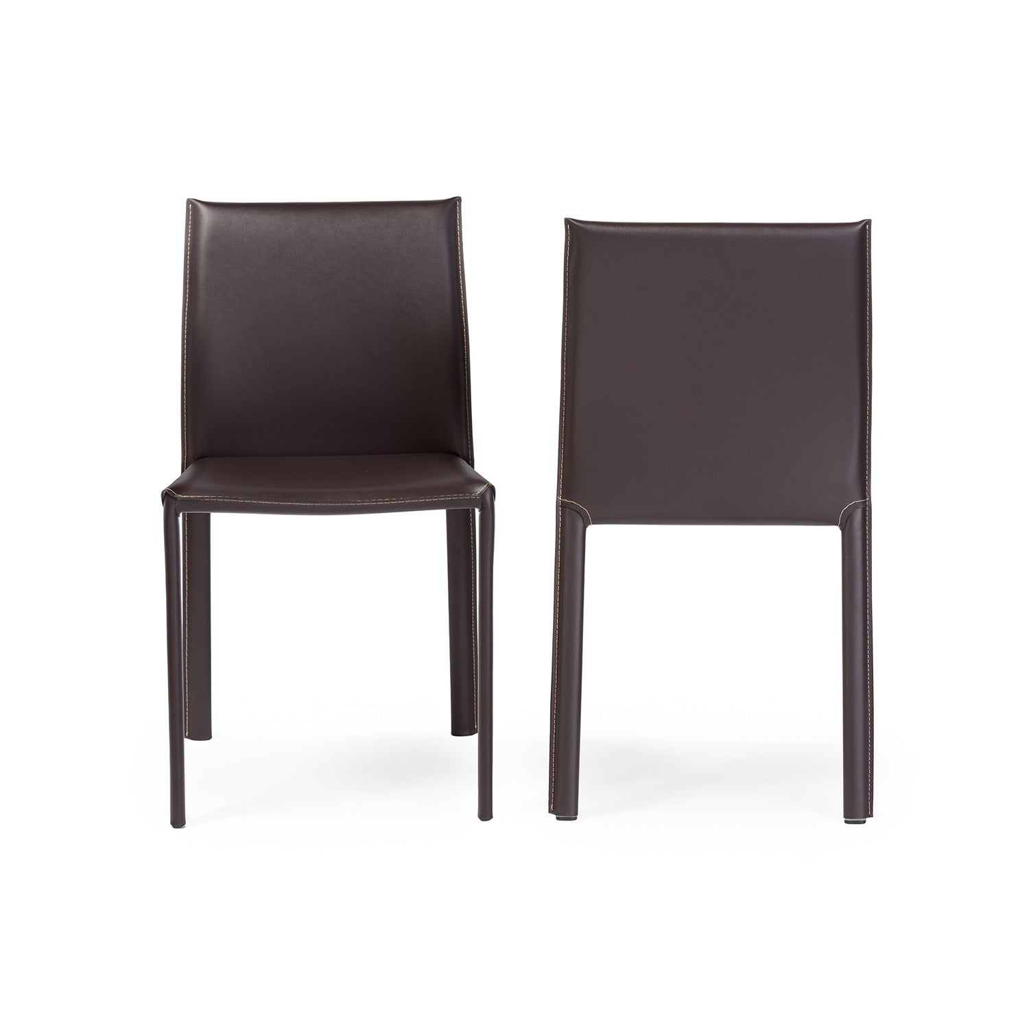 modern brown faux leather dining chair piece set by baxton studio  freeshipping today  overstockcom  . modern brown faux leather dining chair piece set by baxton