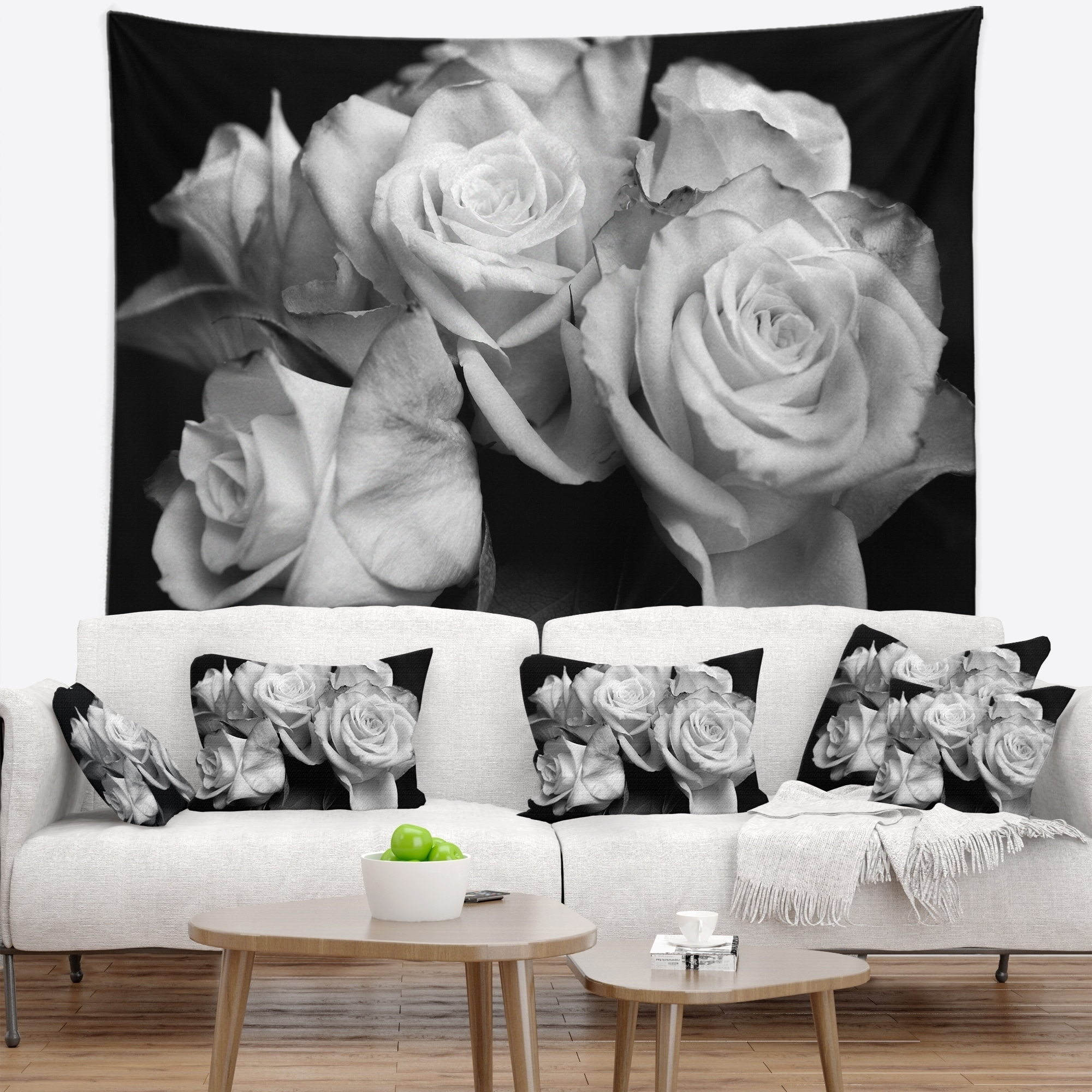Shop Designart Bunch Of Roses Black And White Floral Wall Tapestry
